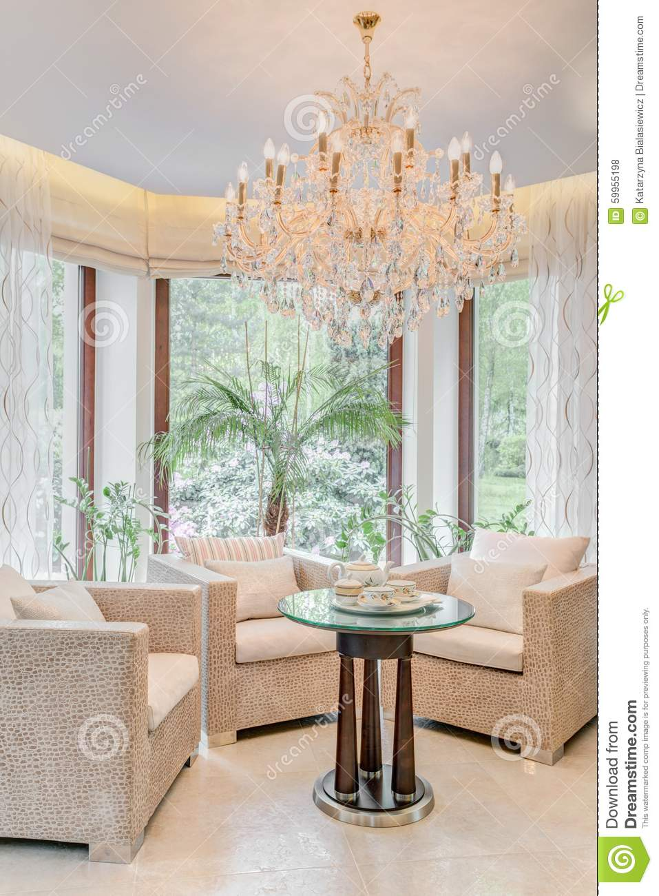 Elegant Armchairs In Living Room Stock Photo - Image of ...