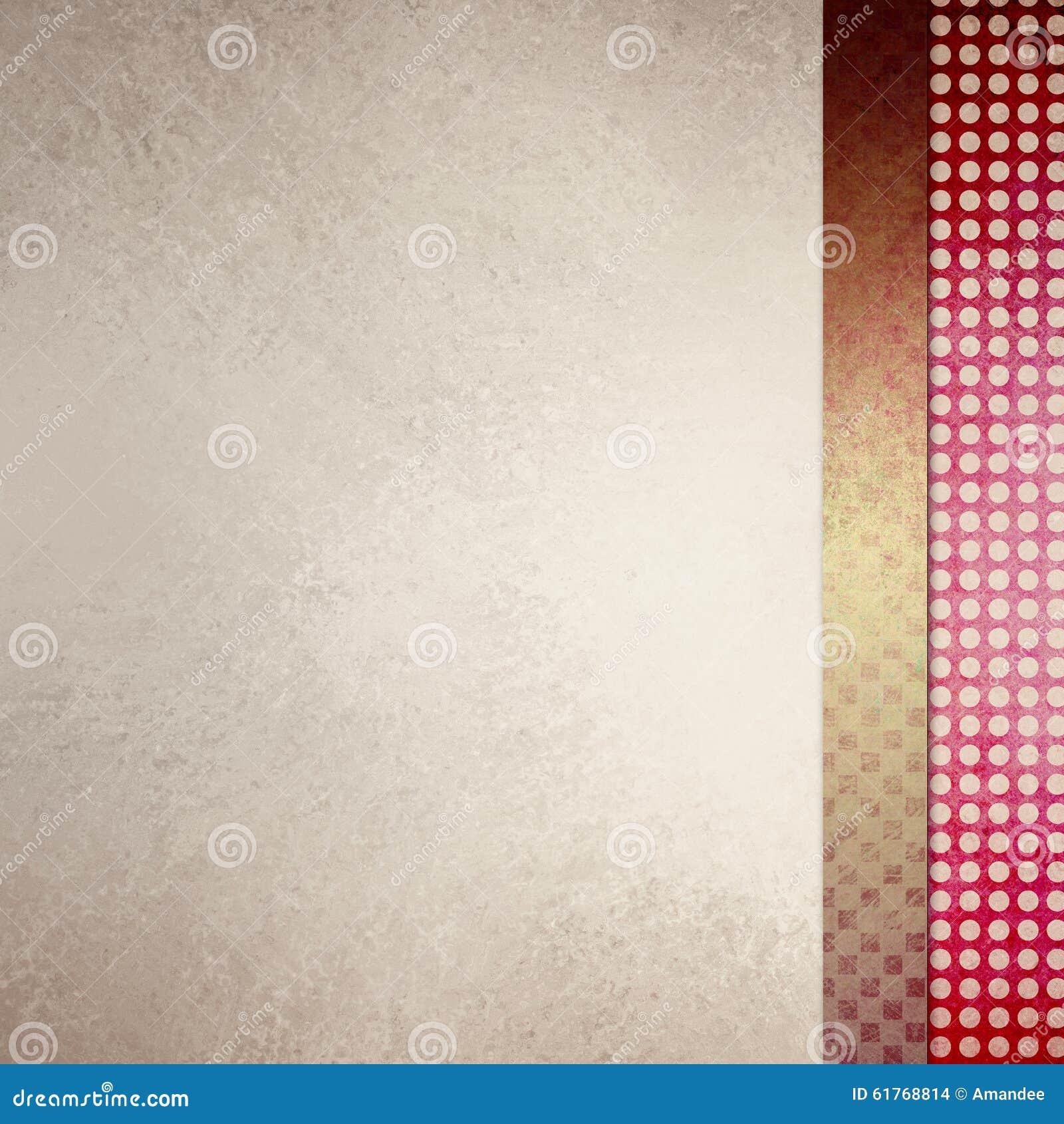 Elegant av vit bakgrund med sidofältet planlägger i röda och guldtexturer