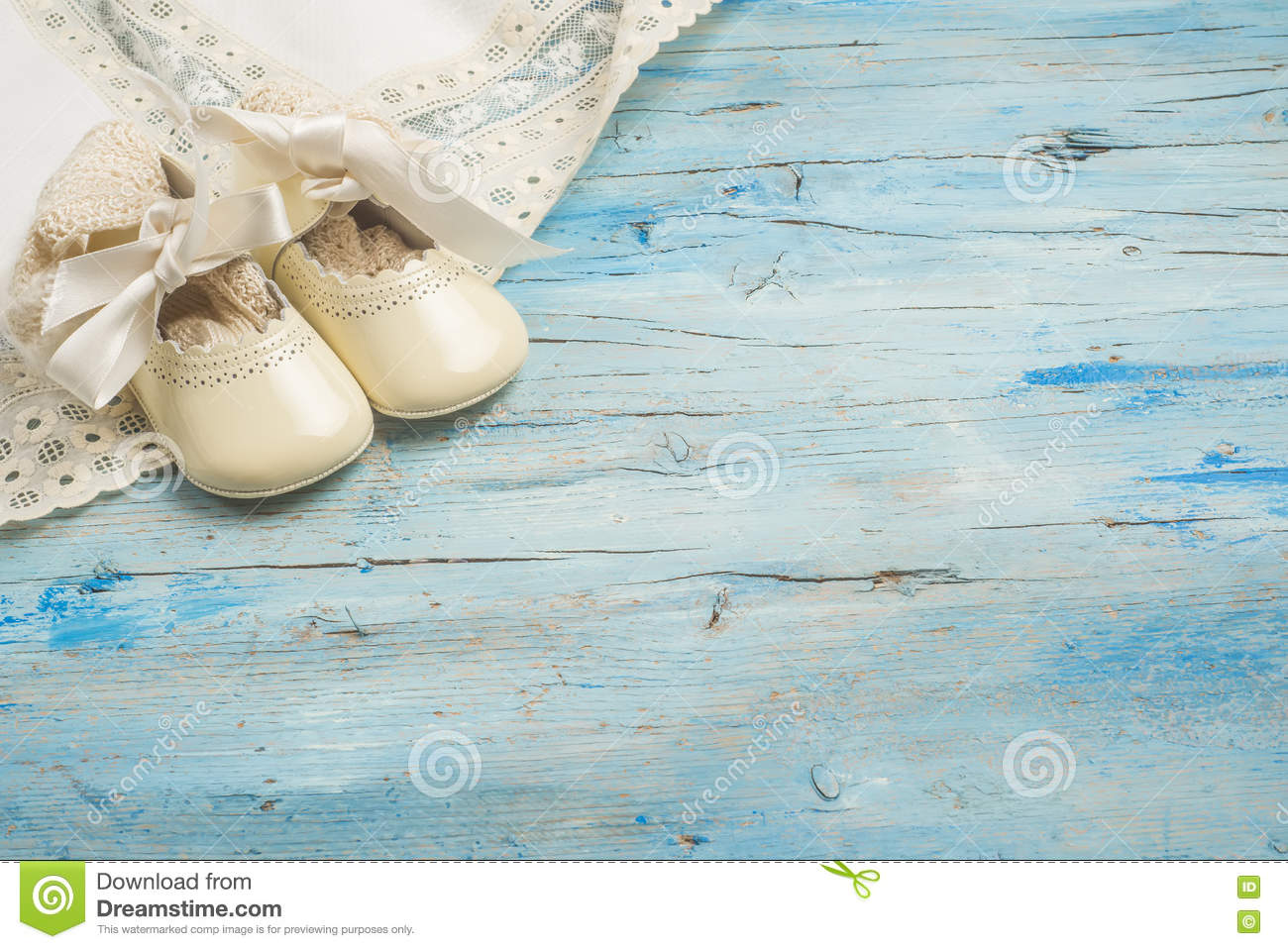 Captivating Baby Newborn Background, Vintage Newborn Clothes And Shoes For Baptism On  Wooden Background , Blank Space For Message