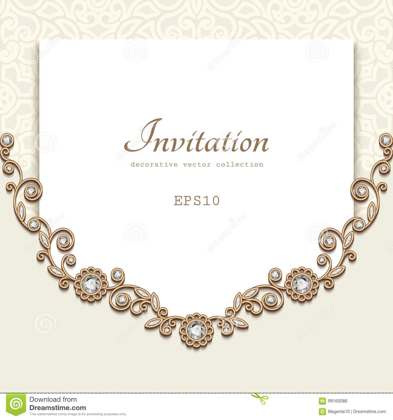 Vintage jewelry gold card stock vector illustration of fashion elegant background with diamond decoration jewelry gold frame vintage save the date or invitation card template stopboris Choice Image
