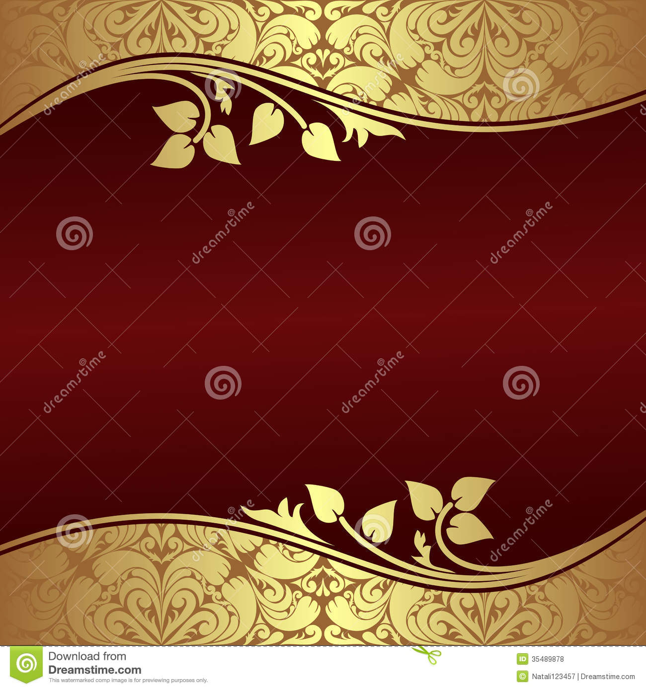 elegant background with floral golden borders stock