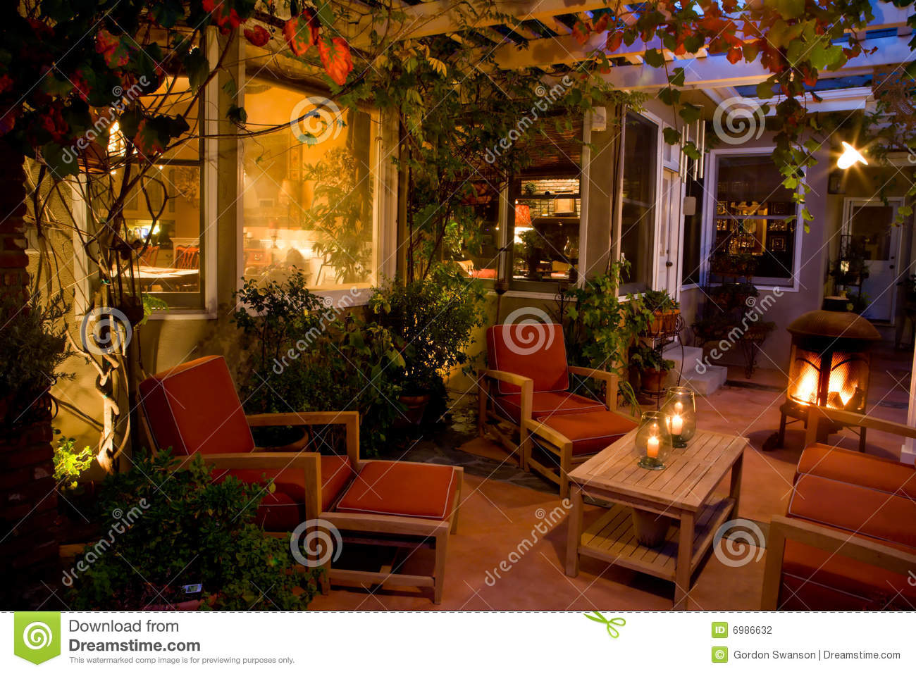 Elegant Backyard Patio Stock Photo Image Of Nightfall