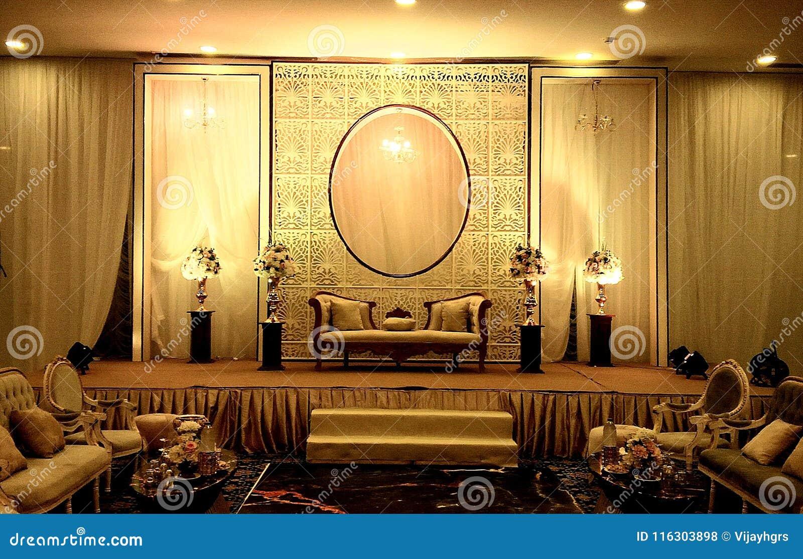 Elegant Banquet Hall Wedding Stage Decorations Stock Photo