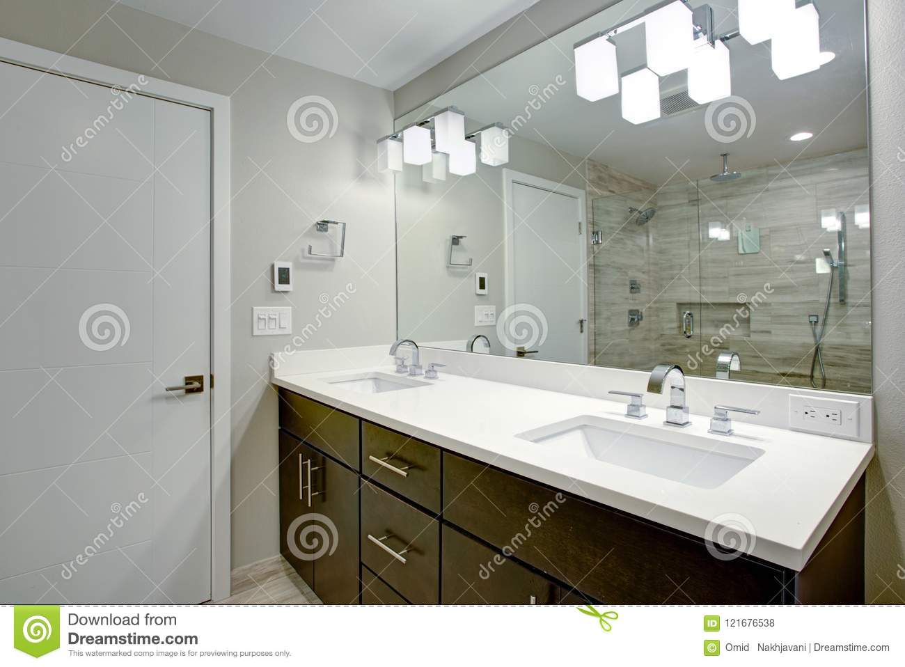 Elegant Bathroom With Espresso Double Vanity Stock Photo Image