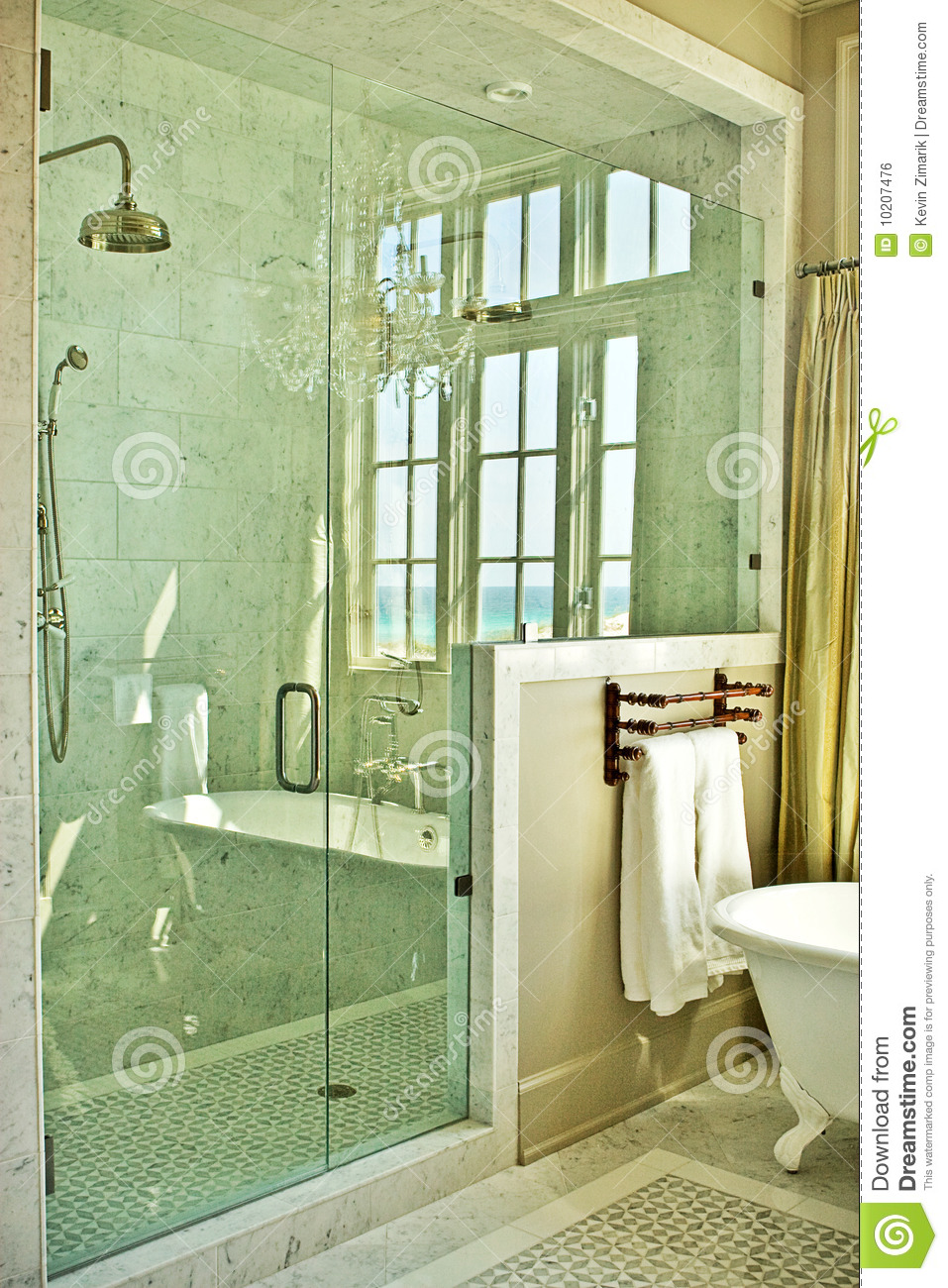 Elegant Bathroom With Glass Shower Stock Photo