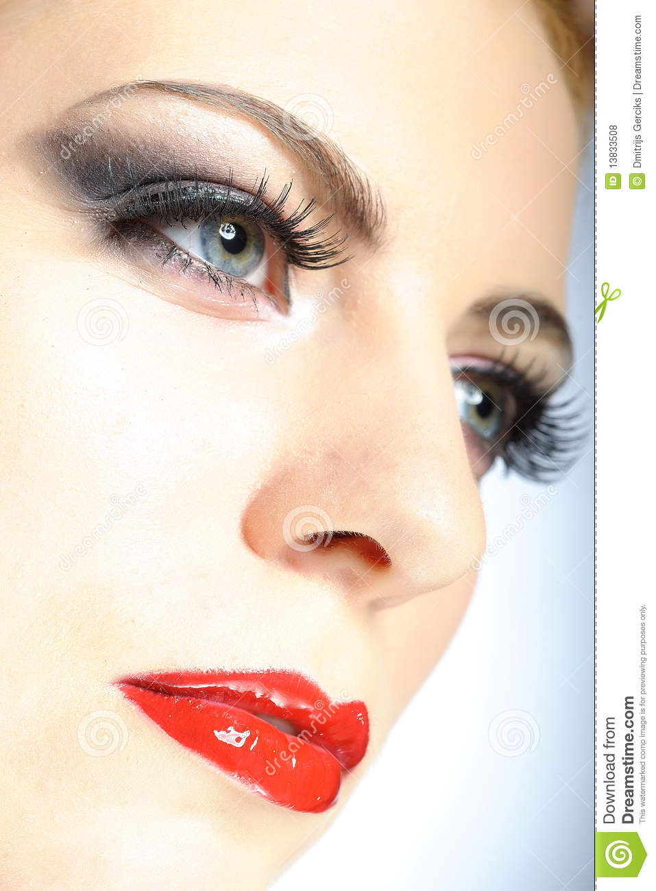 elegant beauty female face with red shiny lips royalty