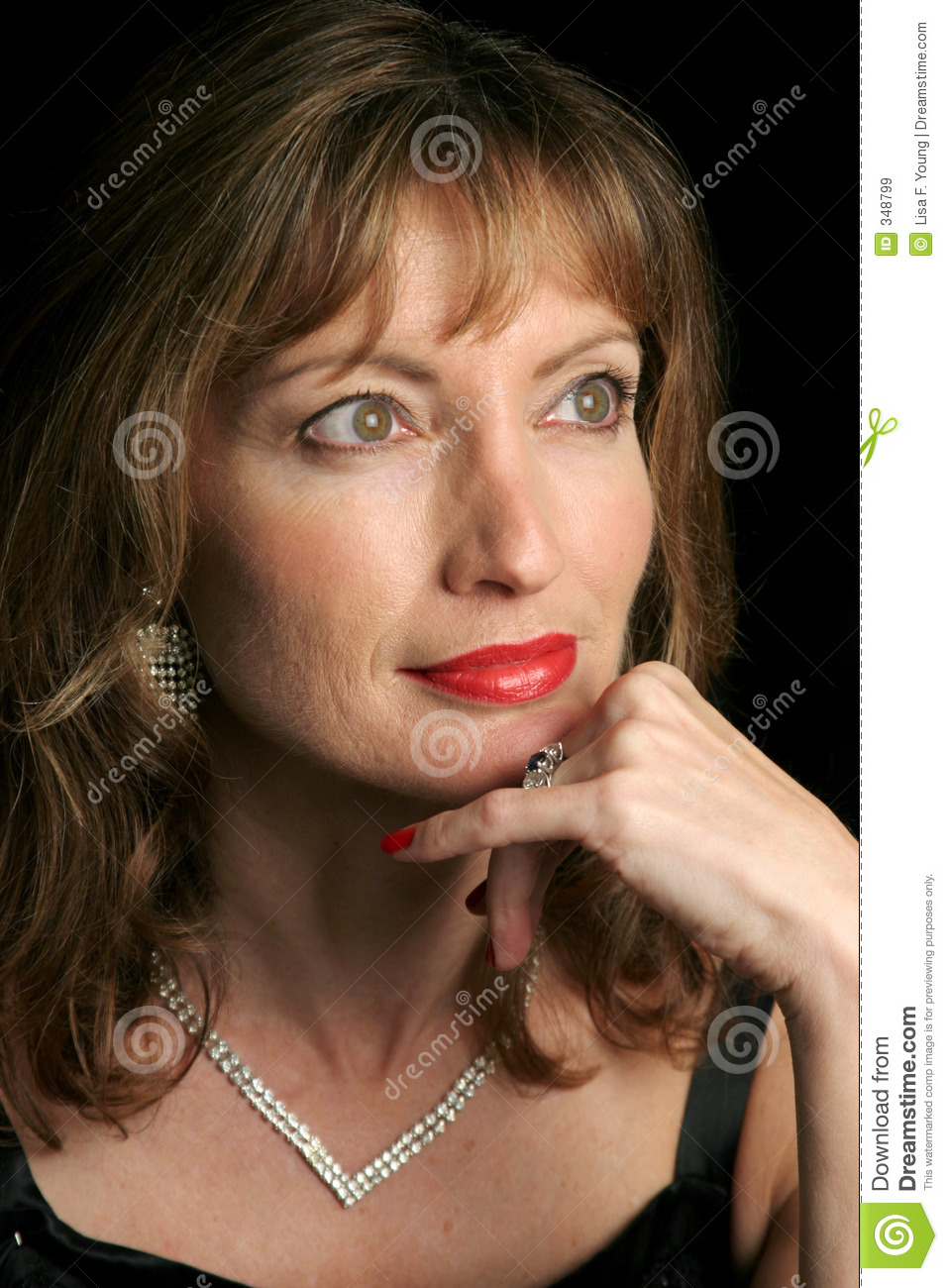 Wistful Middle Aged Woman Posing Stock Image ...
