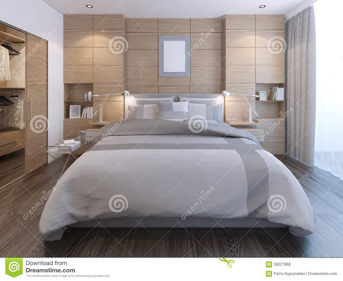 Elegant bedroom with wall decoration stock illustration   image ...