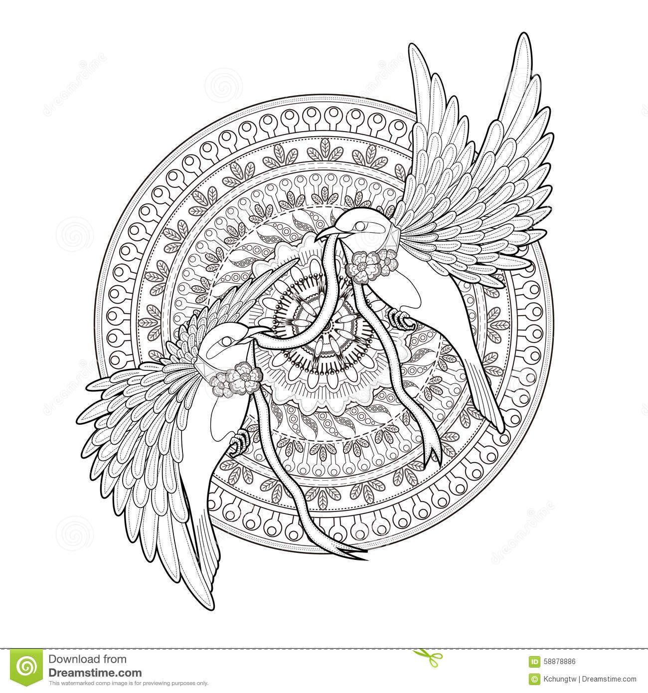 Elegant Bird Coloring Page Stock Illustration