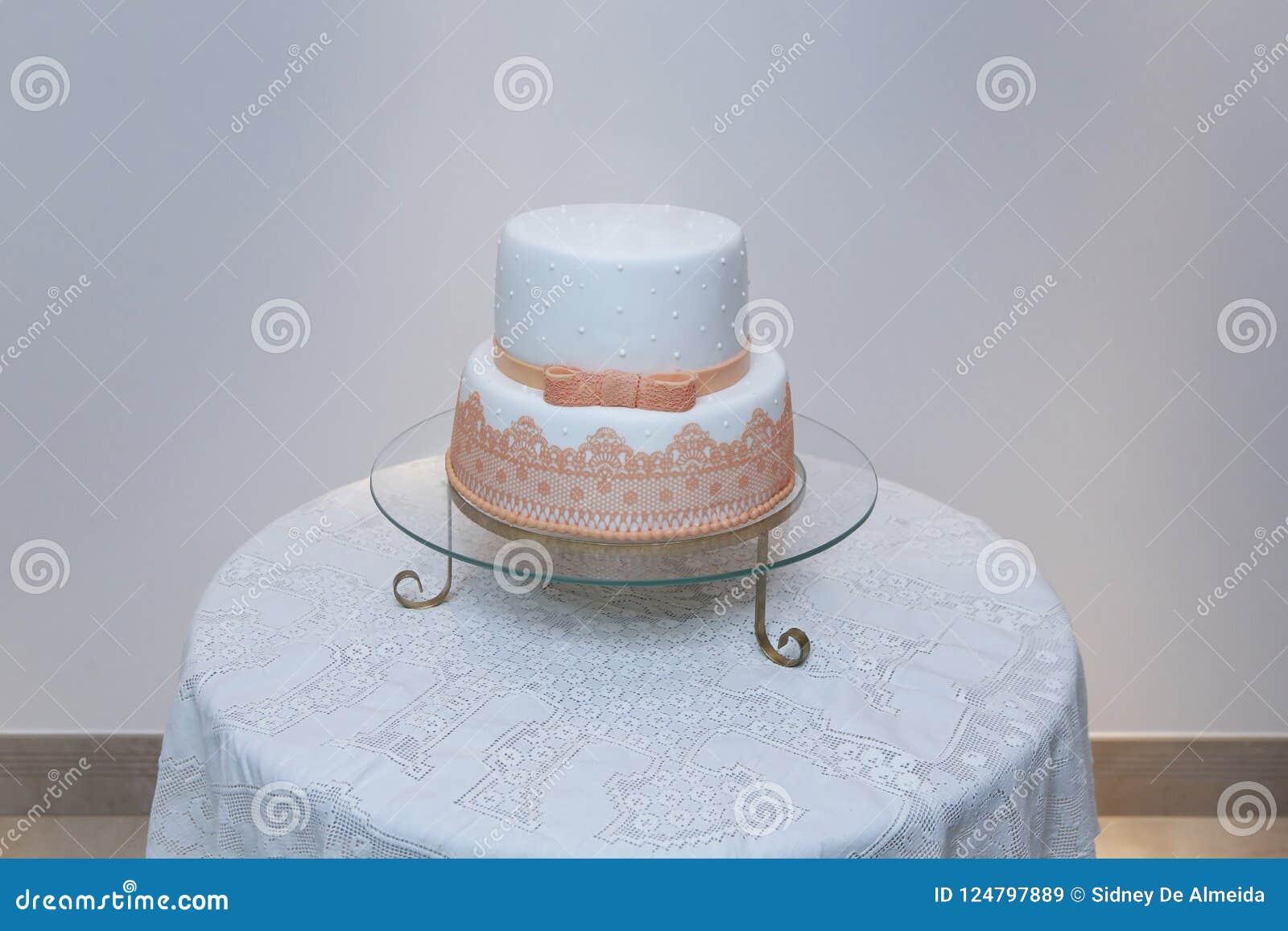 Elegant Birthday Cake With Orange Color Detail Stock Image Image