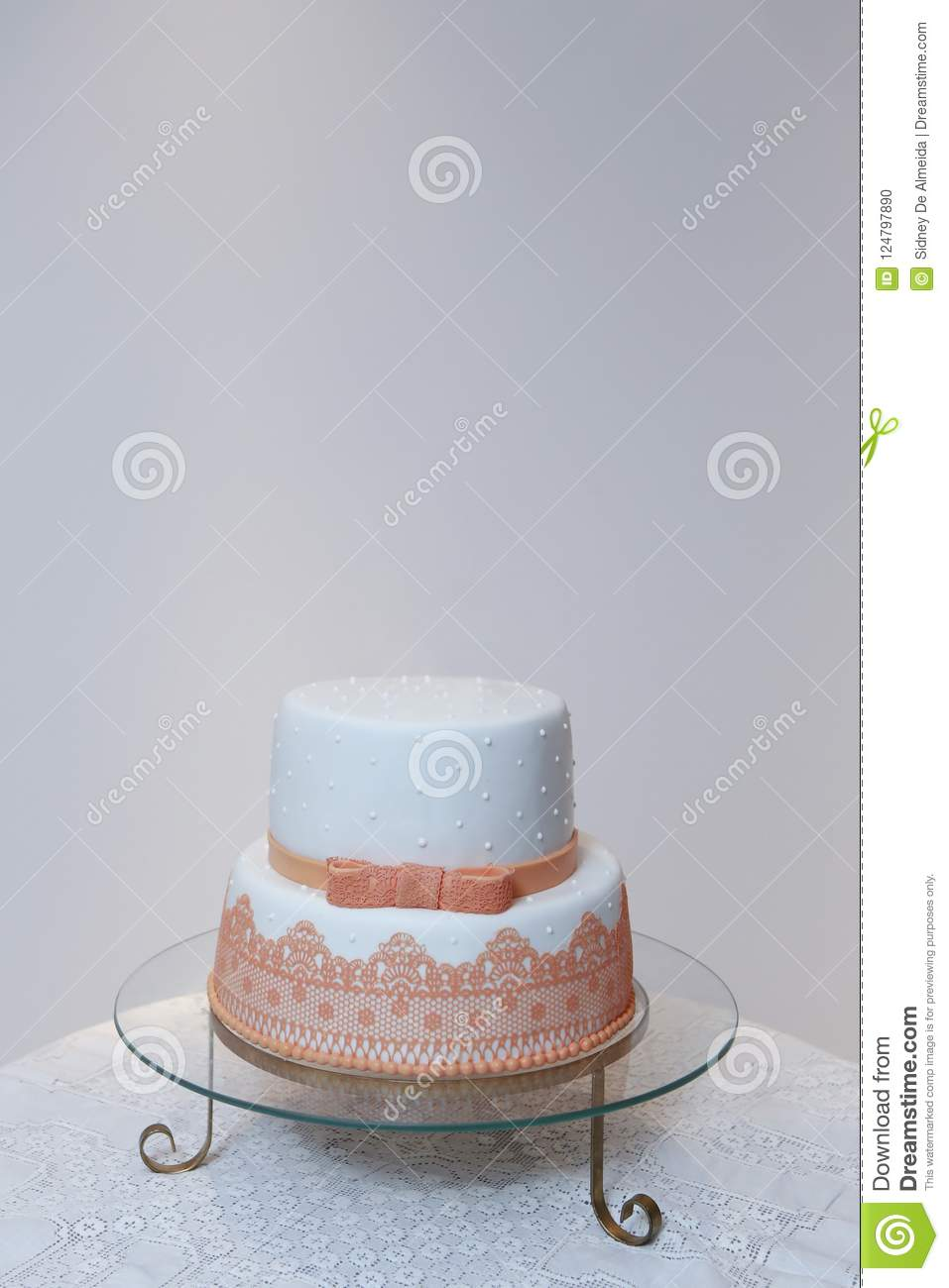 Elegant Birthday Cake With Lace And Orange Color Detail