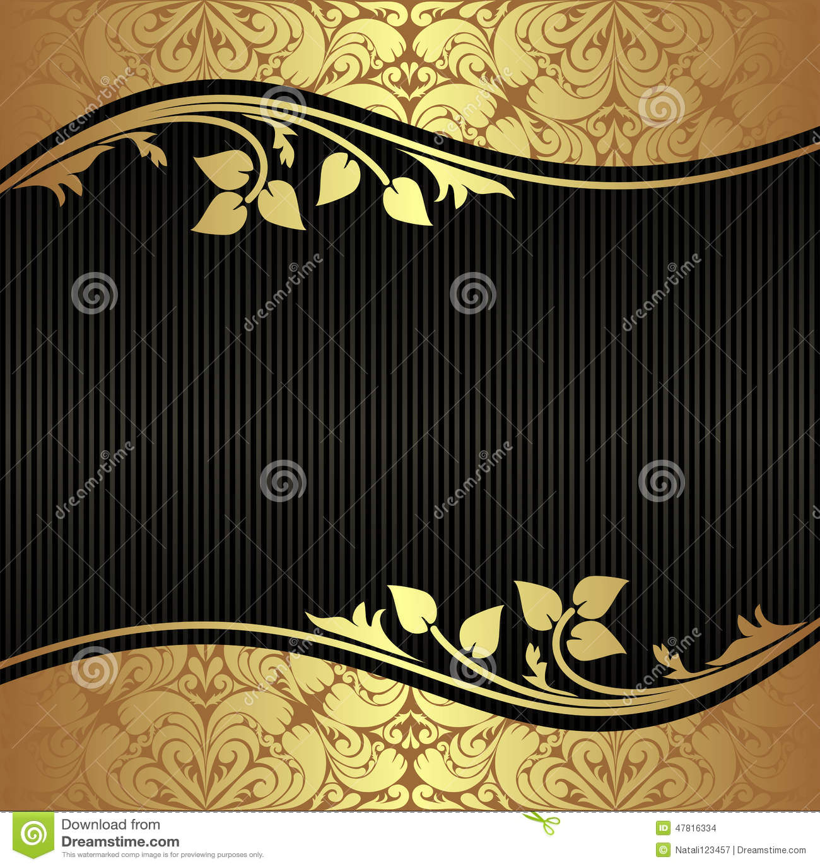 elegant black background with floral golden borders stock