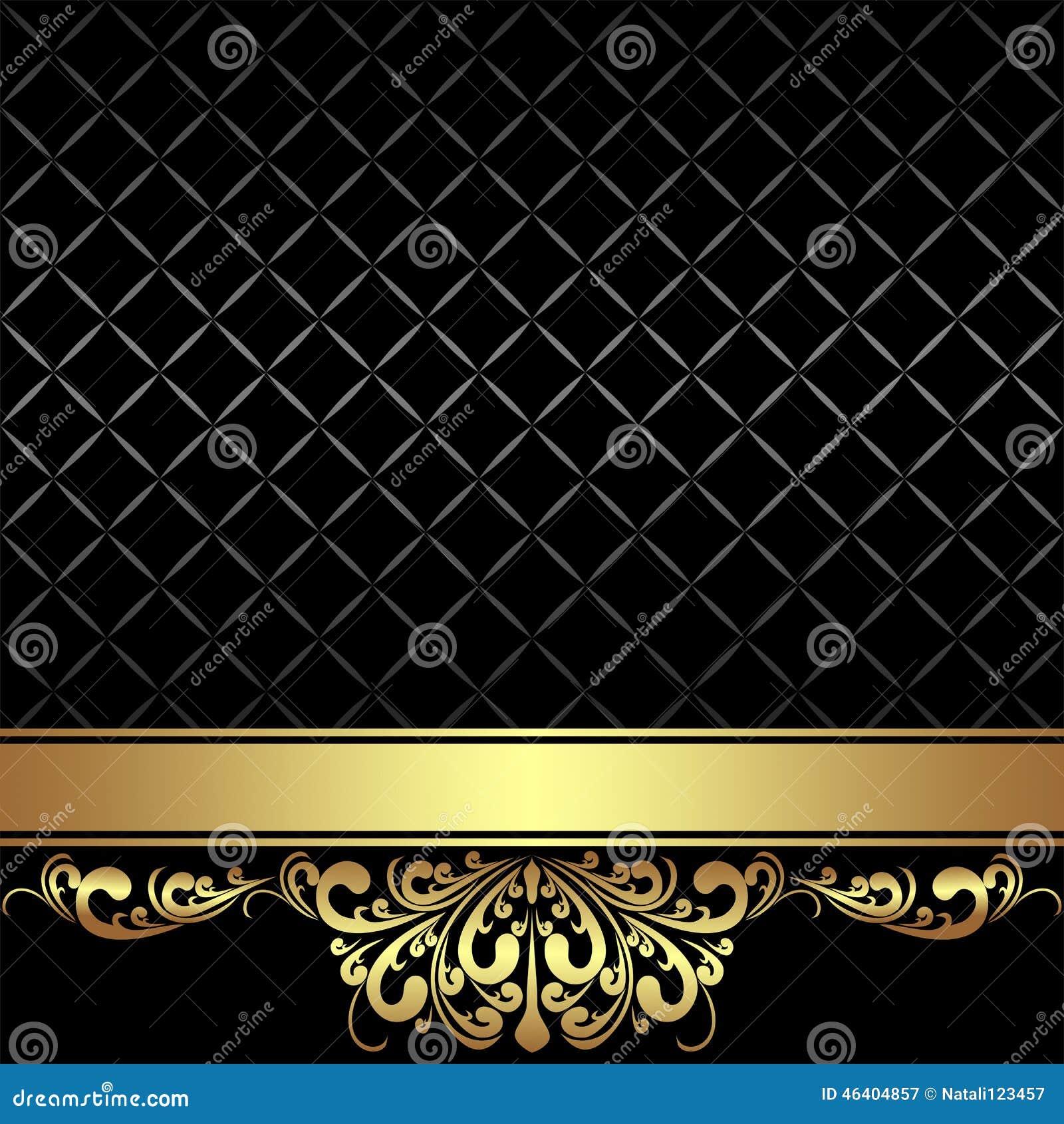 Elegant Black Background With Golden Ribbon Stock Vector