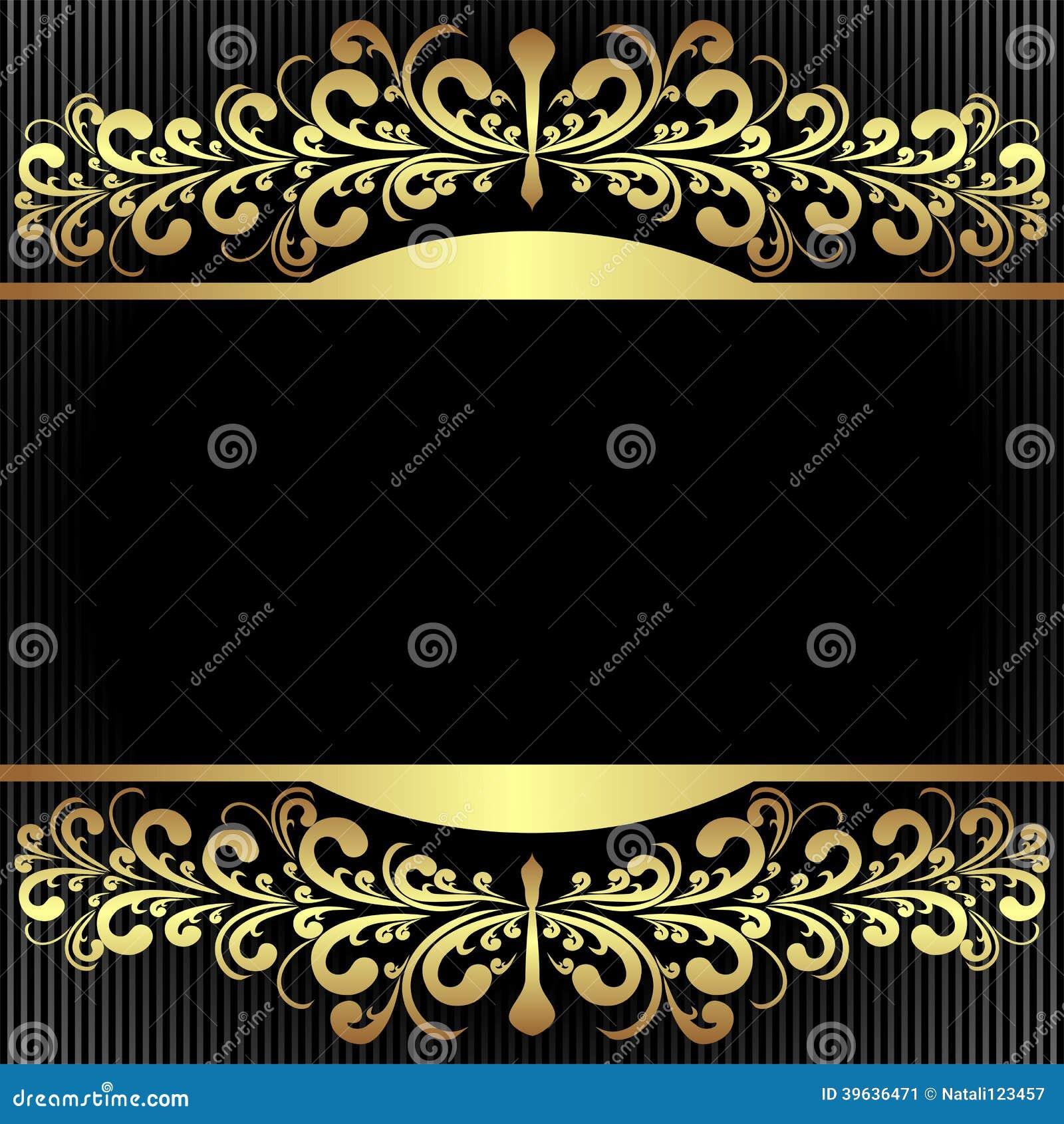 Elegant Black Background With Royal Golden Borders Stock