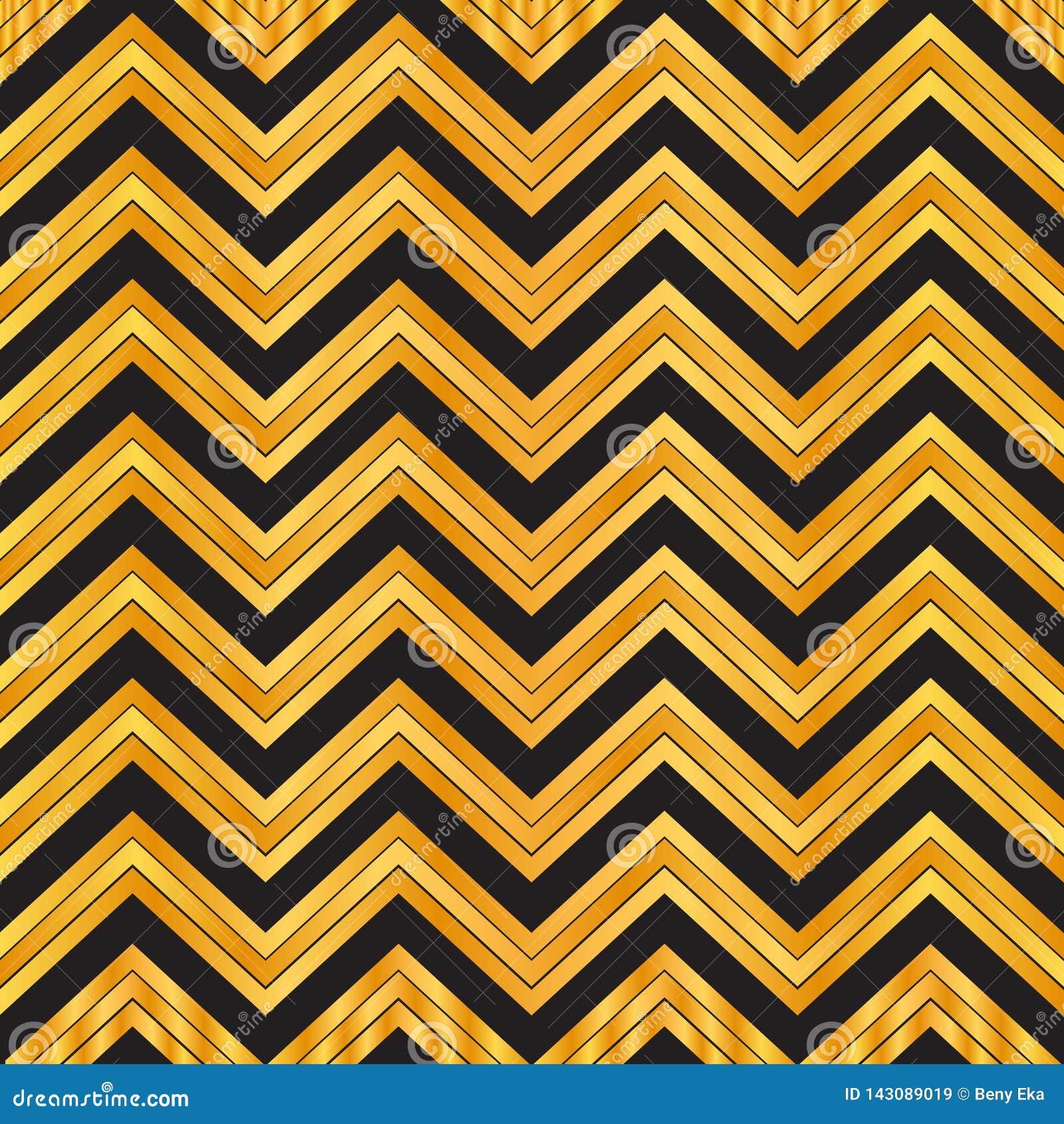 Elegant Black And Gold Geometric Seamless Zigzag Pattern