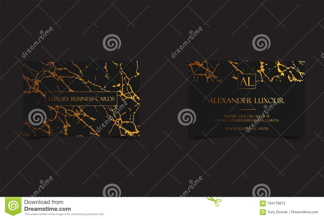 Elegant black luxury business cards with marble texture and gold download comp reheart Images