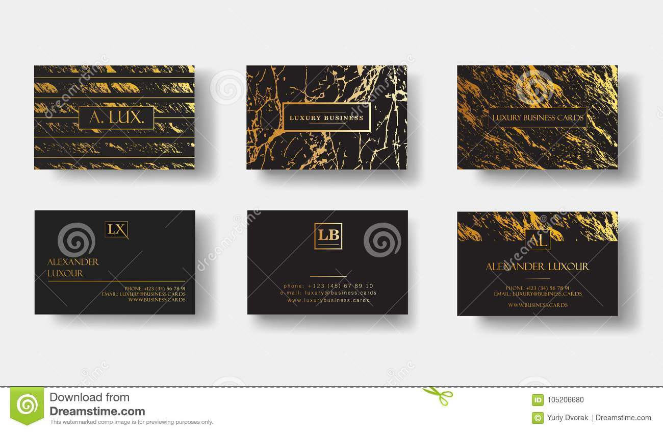 Elegant Black Luxury Business Cards Set With Marble Texture Stock