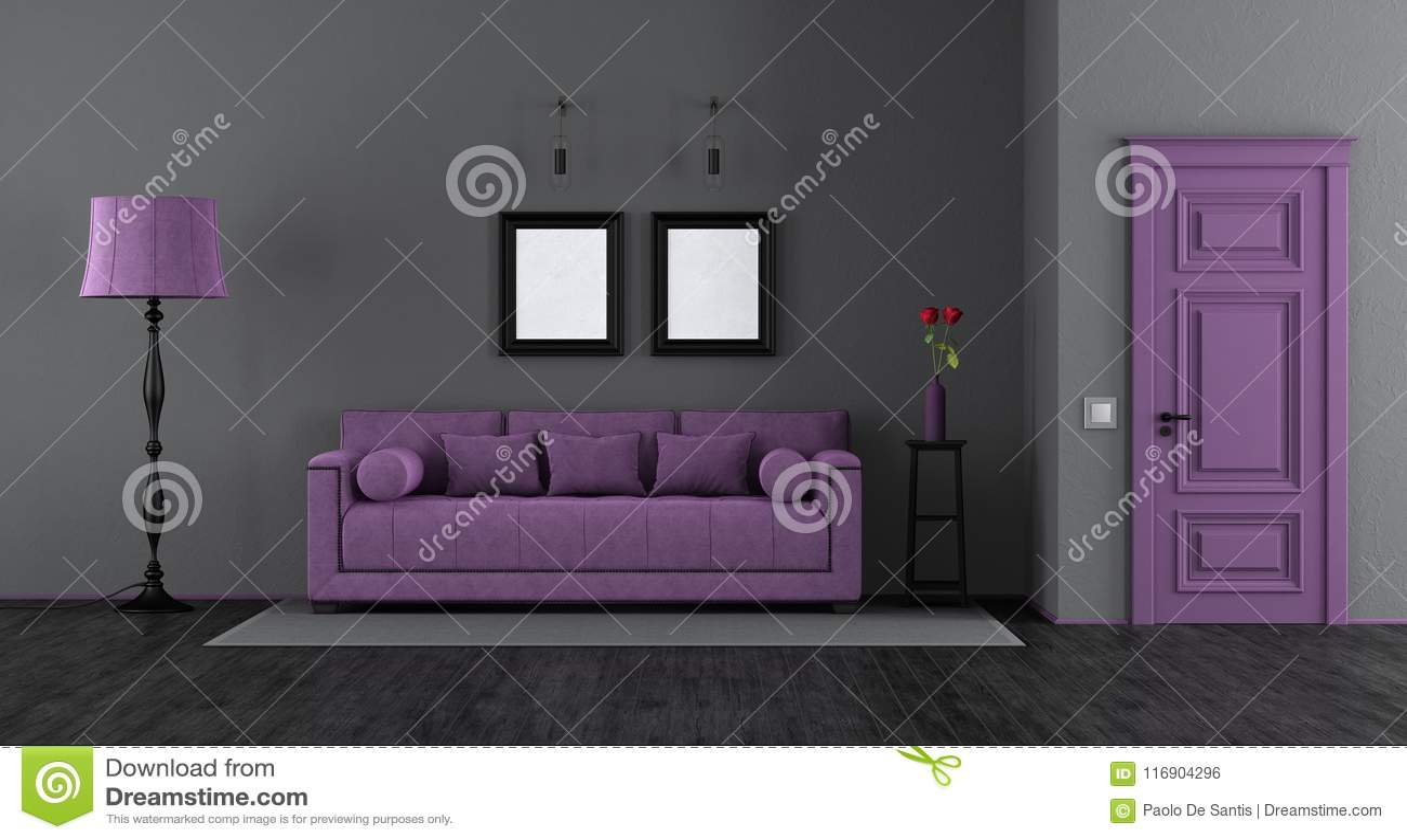 Elegant Black And Purple Living Room Stock Illustration ...
