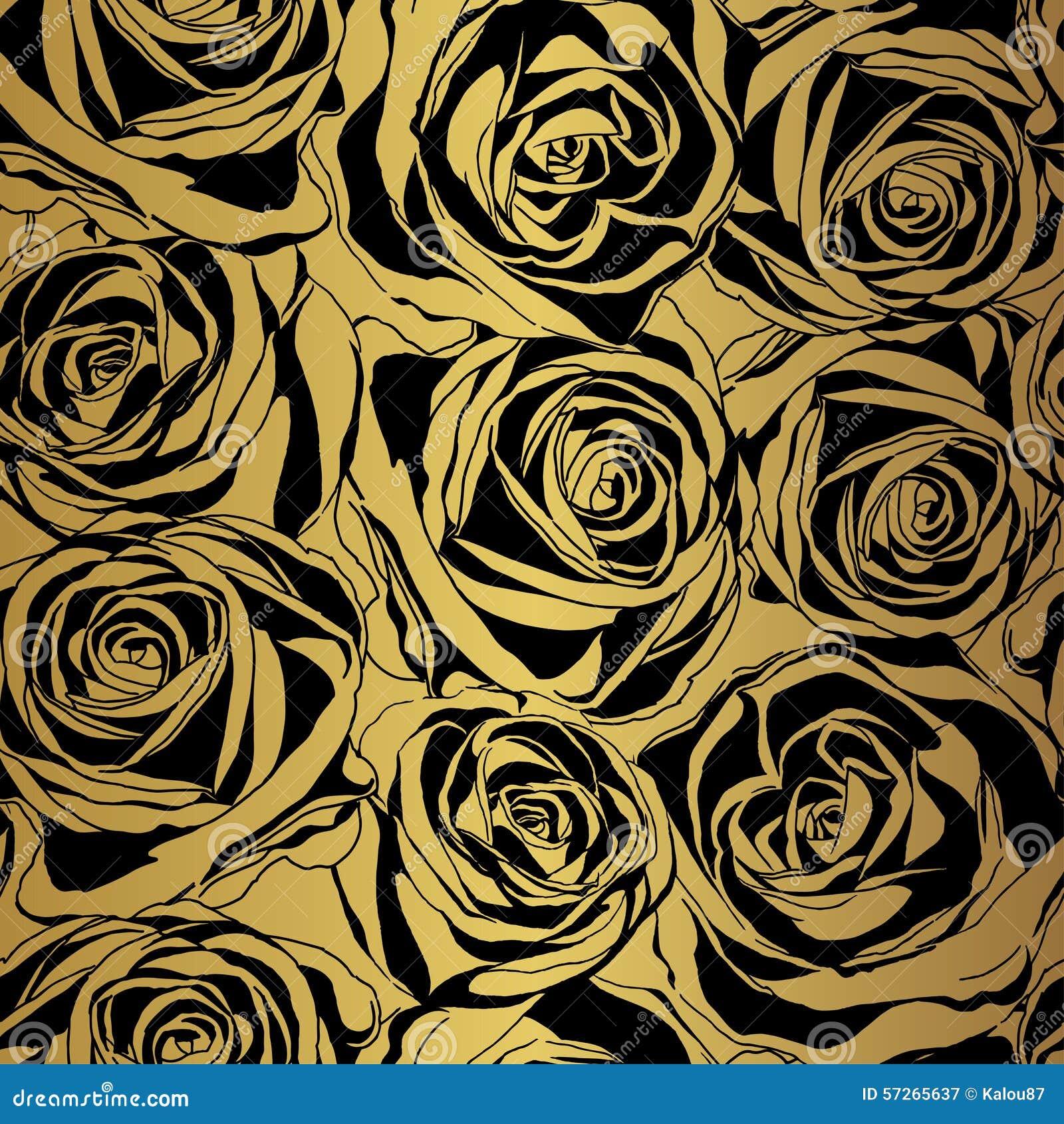 elegant black rose pattern on gold background stock