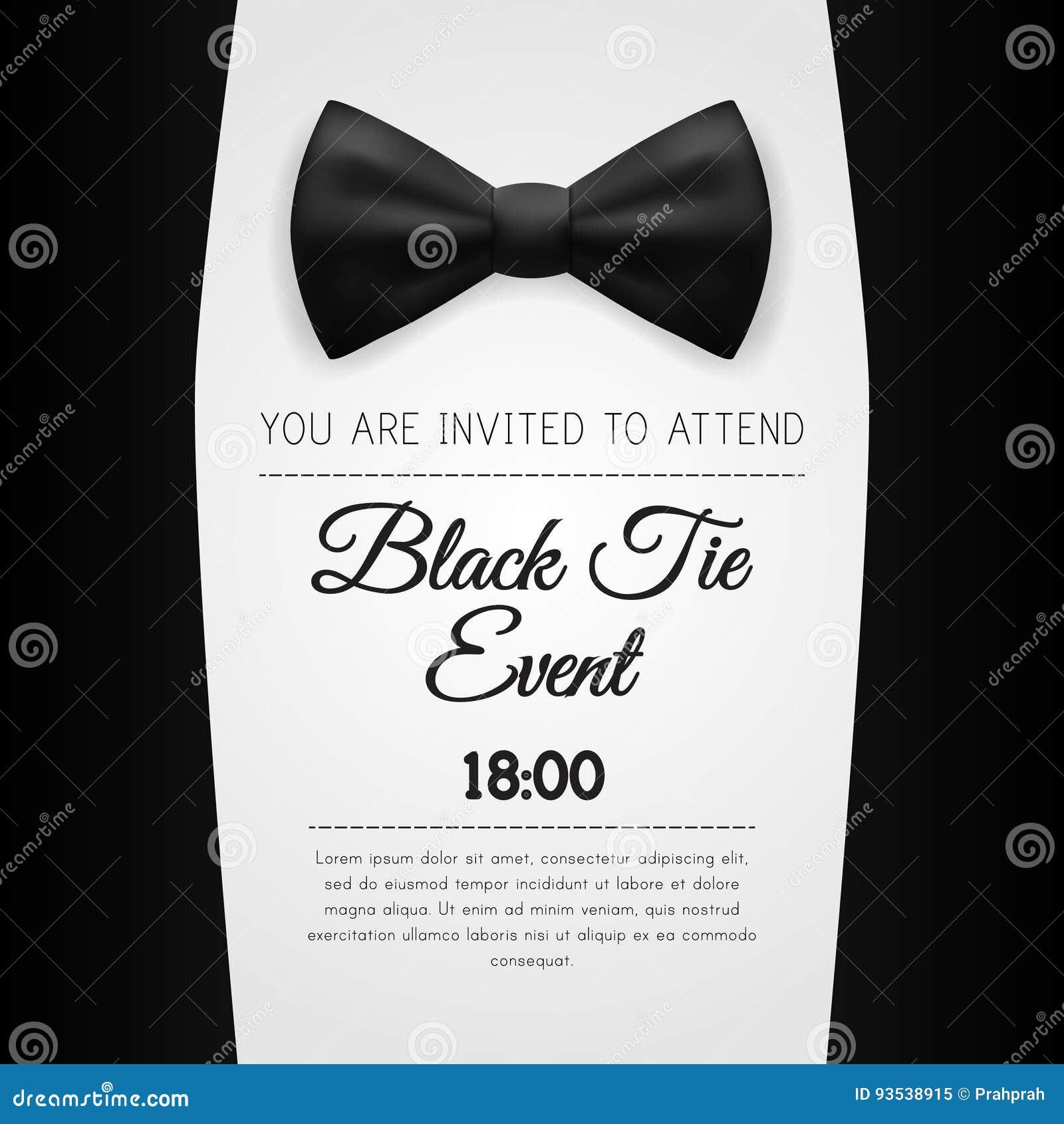 elegant black tie event invitation template stock illustration