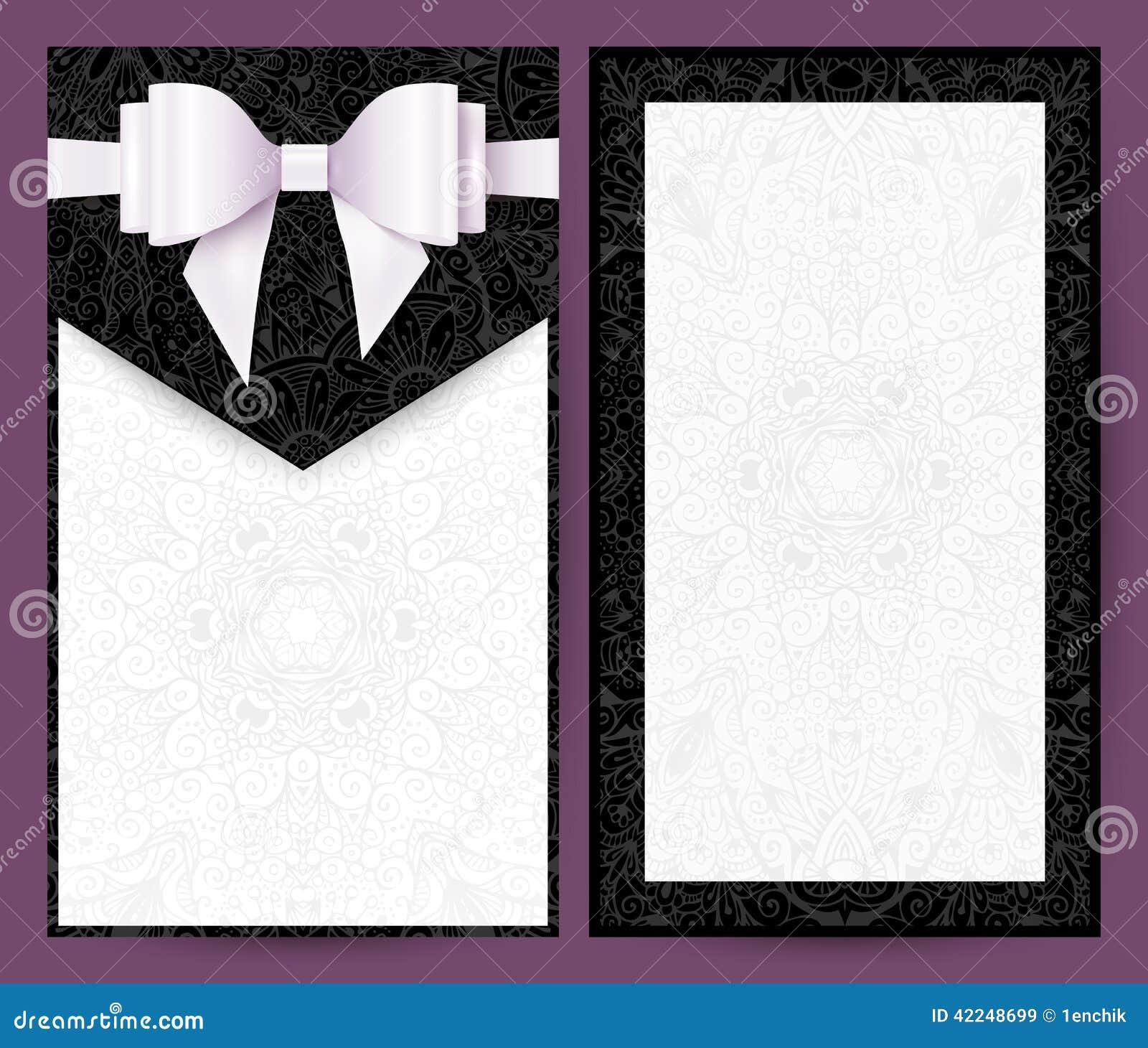 Elegant Black And White Vector Wedding Invitation Stock Vector ...
