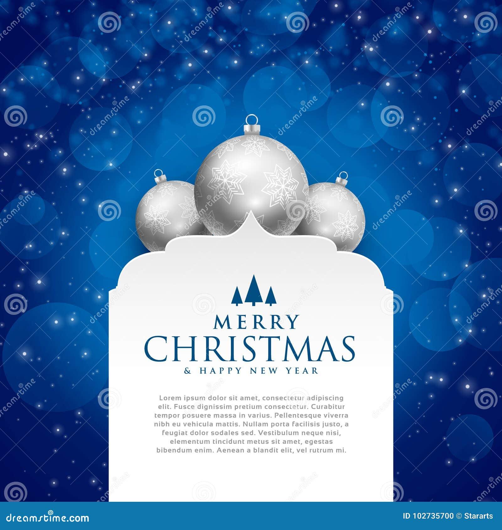 Elegant blauw vrolijk Kerstmisontwerp met zilveren ballen