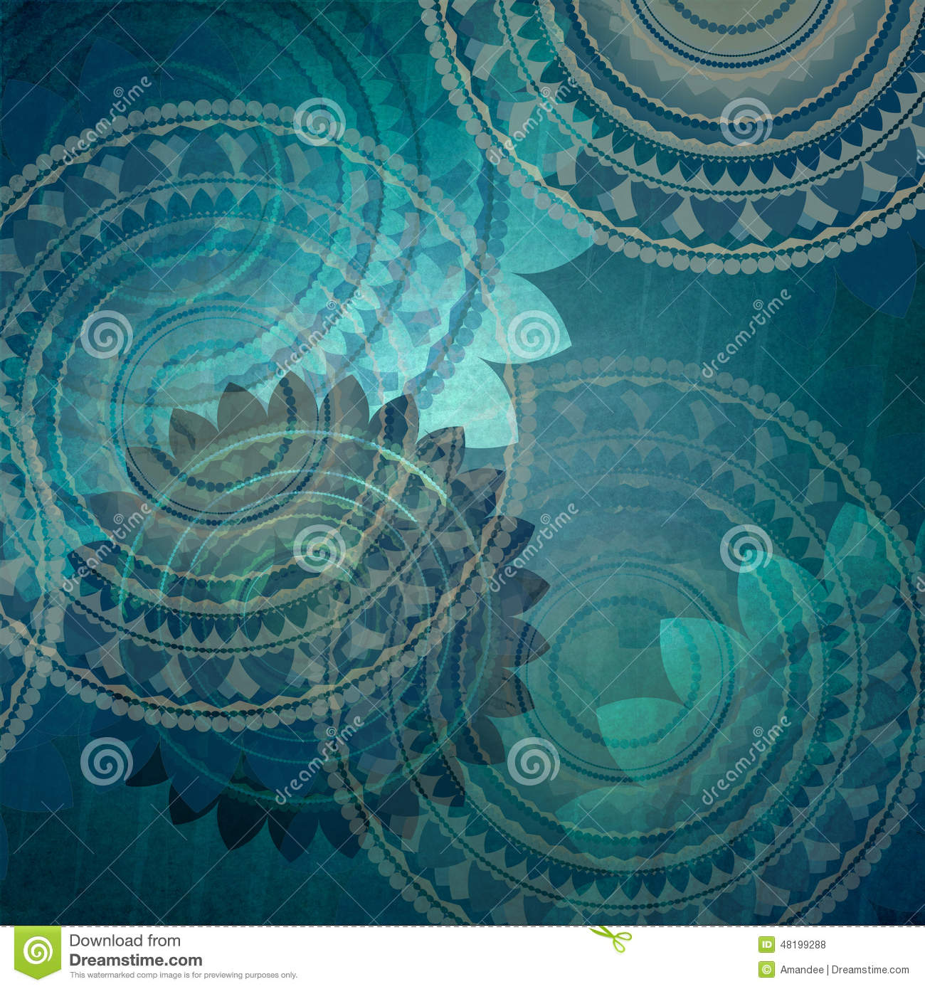 Elegant blue background design with fancy seal flower shapes in abstract random pattern