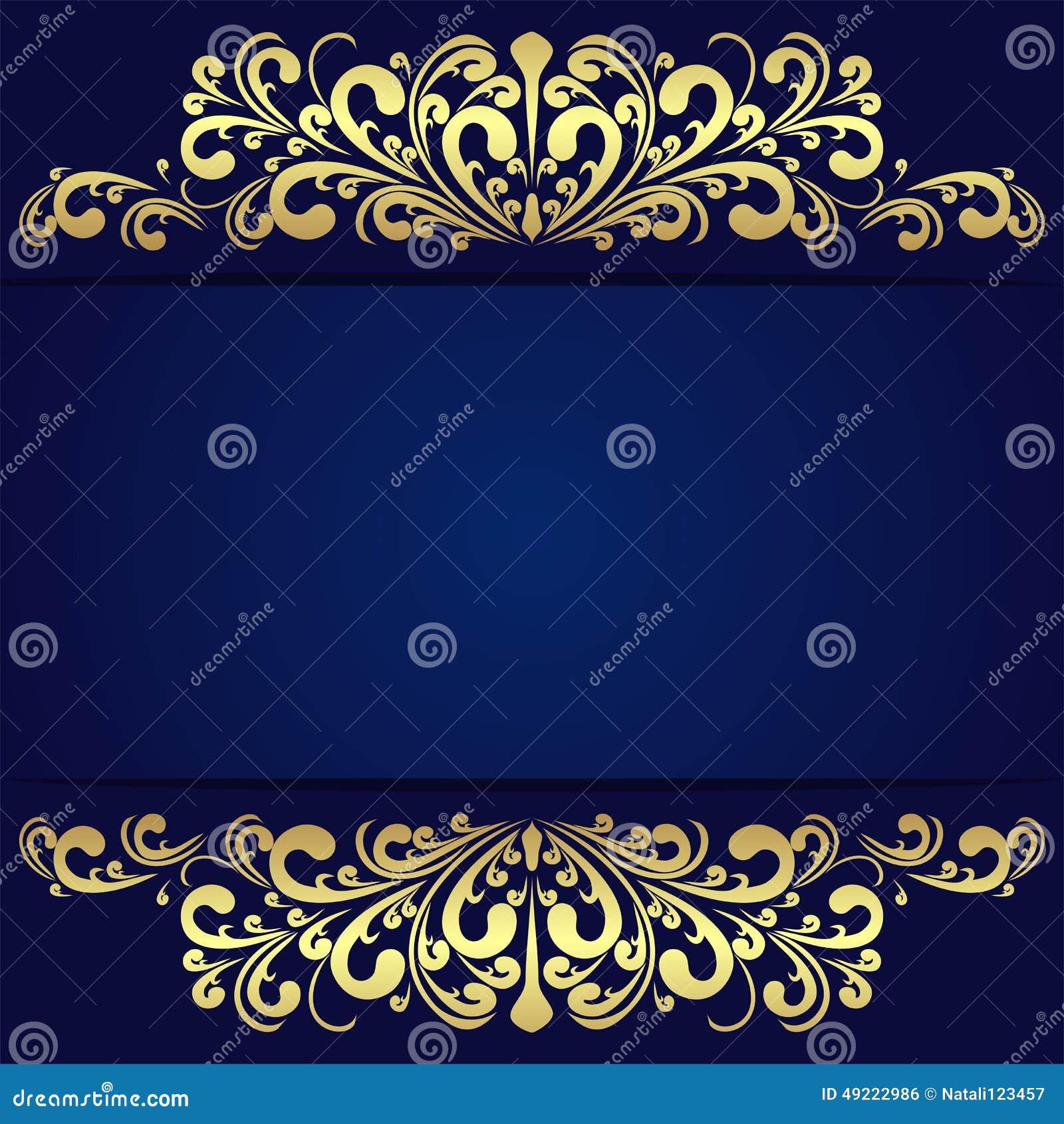 Elegant Blue Background With Floral Golden Borders