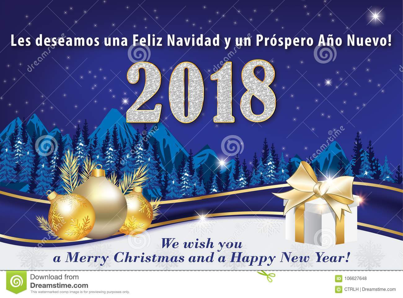 Elegant Blue Corporate Winter Holiday Greeting Card For Spanish