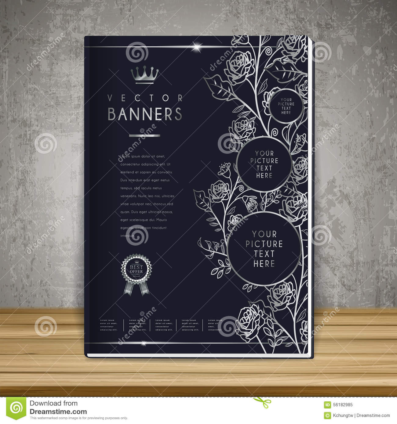 Elegant book cover template design stock vector for Book cover template illustrator