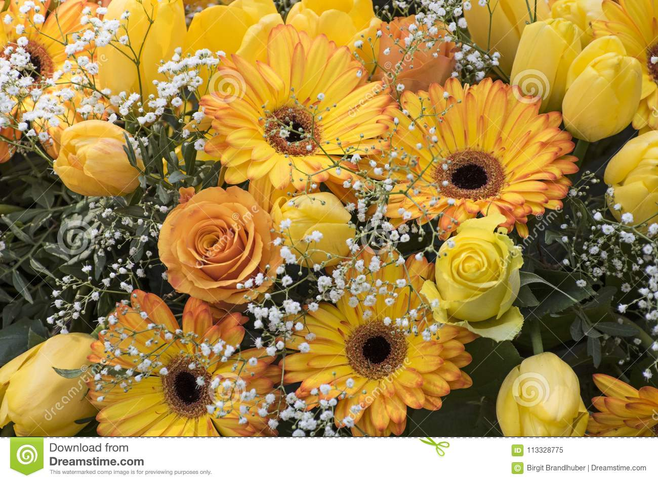 Elegant Flower Bouquet With Yellow Roses Stock Image Image Of