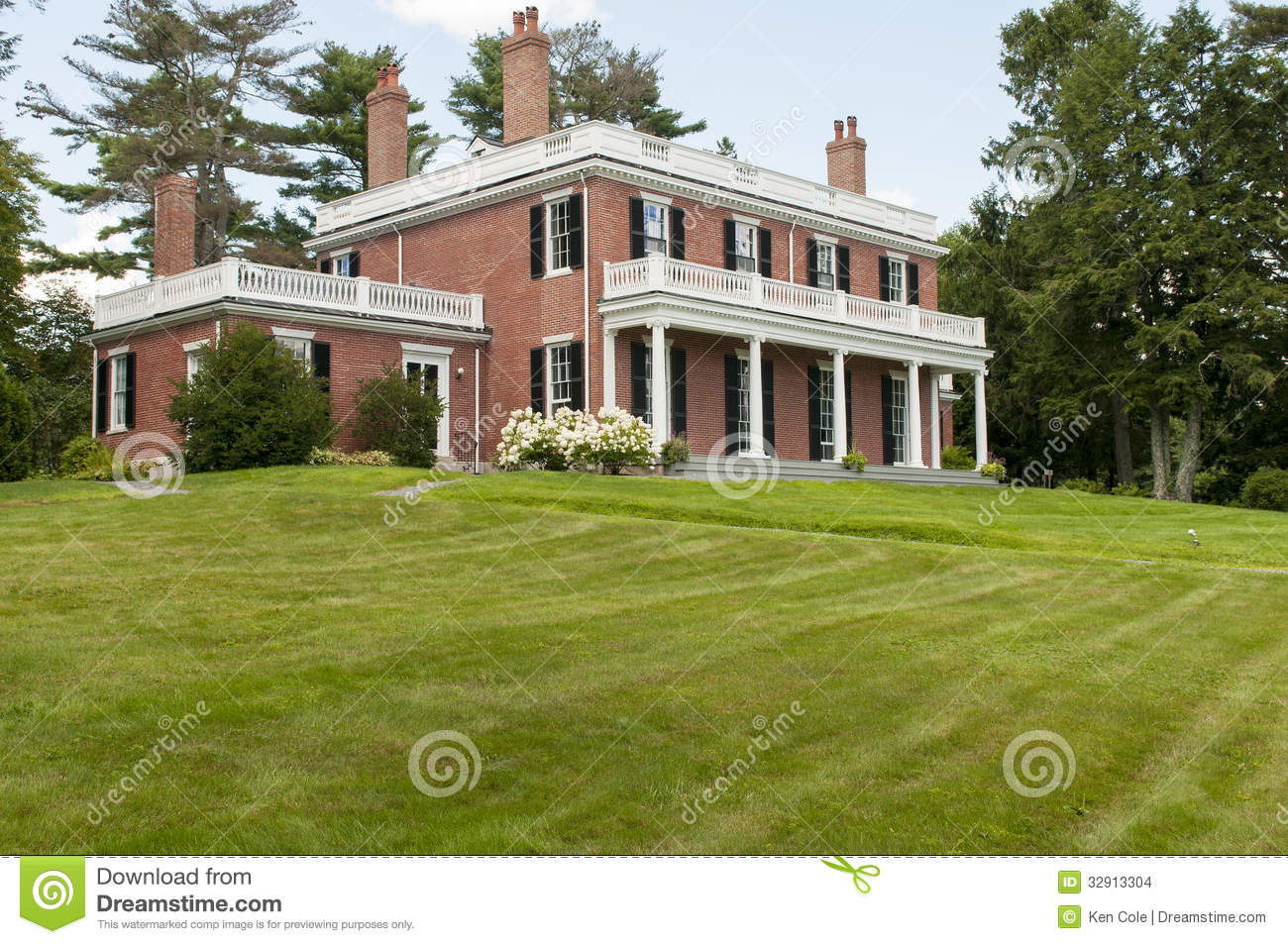 Elegant brick mansion stock photo image of residential for Brick architecture styles