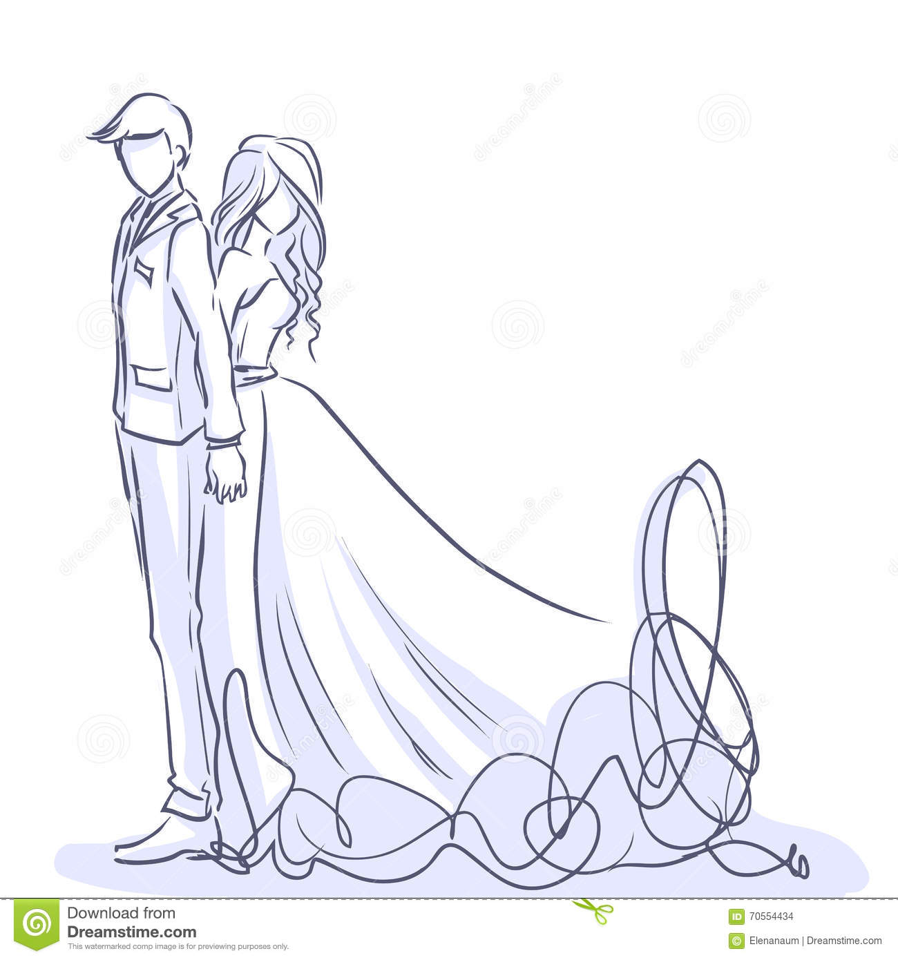 Elegant Bride Handsome Groom Vector Cartoon