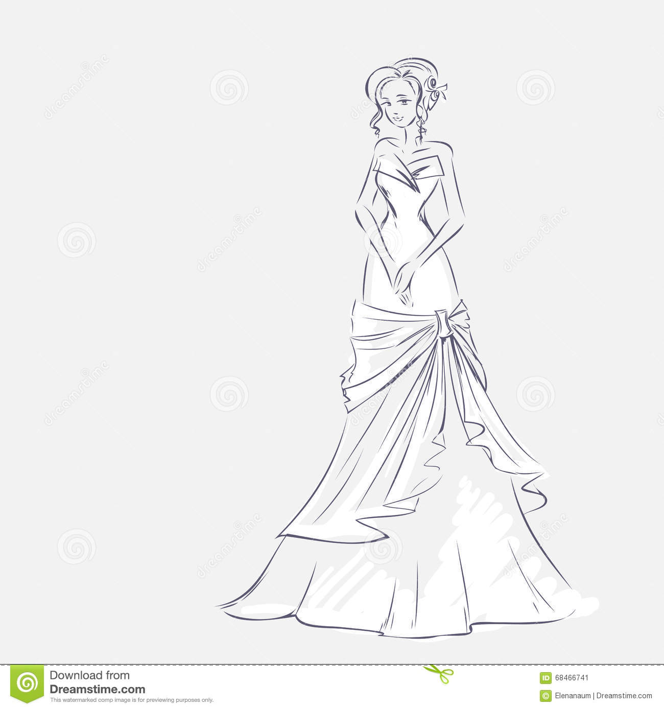 Standing girl at full length sketchy background with space for text hand vector card drawing by lines wedding or fashion themes