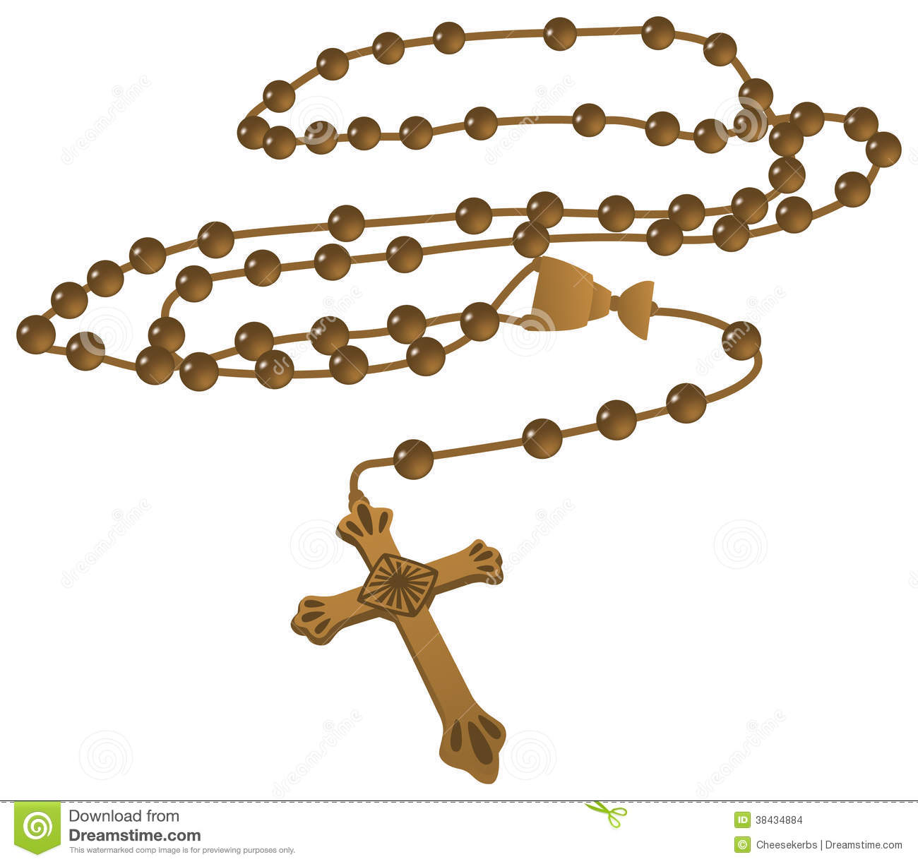 Elegant Brown Catholic Rosary Vector isolated on a white background.