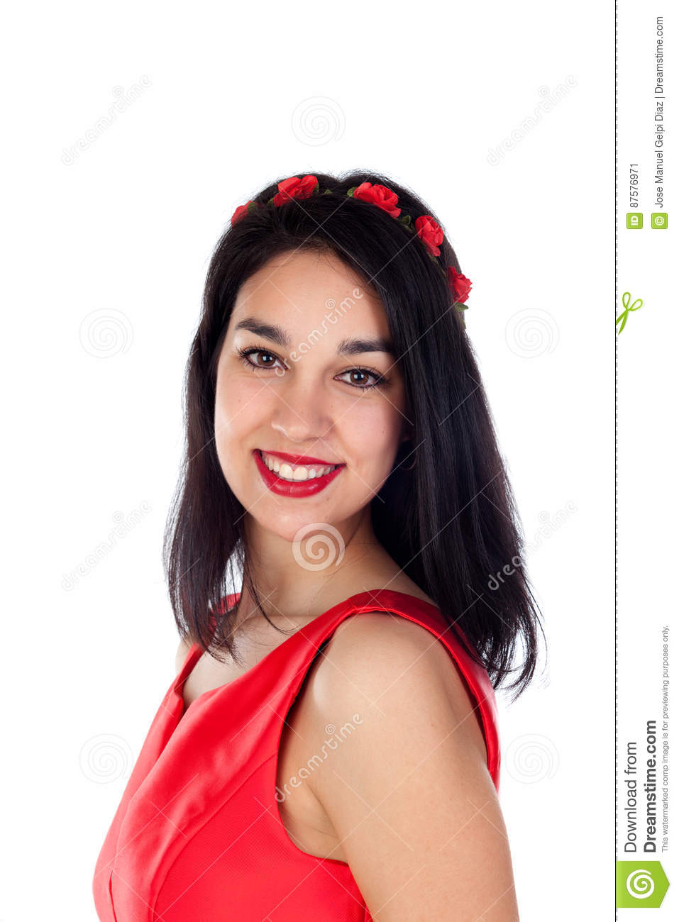 Elegant brunette girl with a red flower crown stock image image of download comp izmirmasajfo