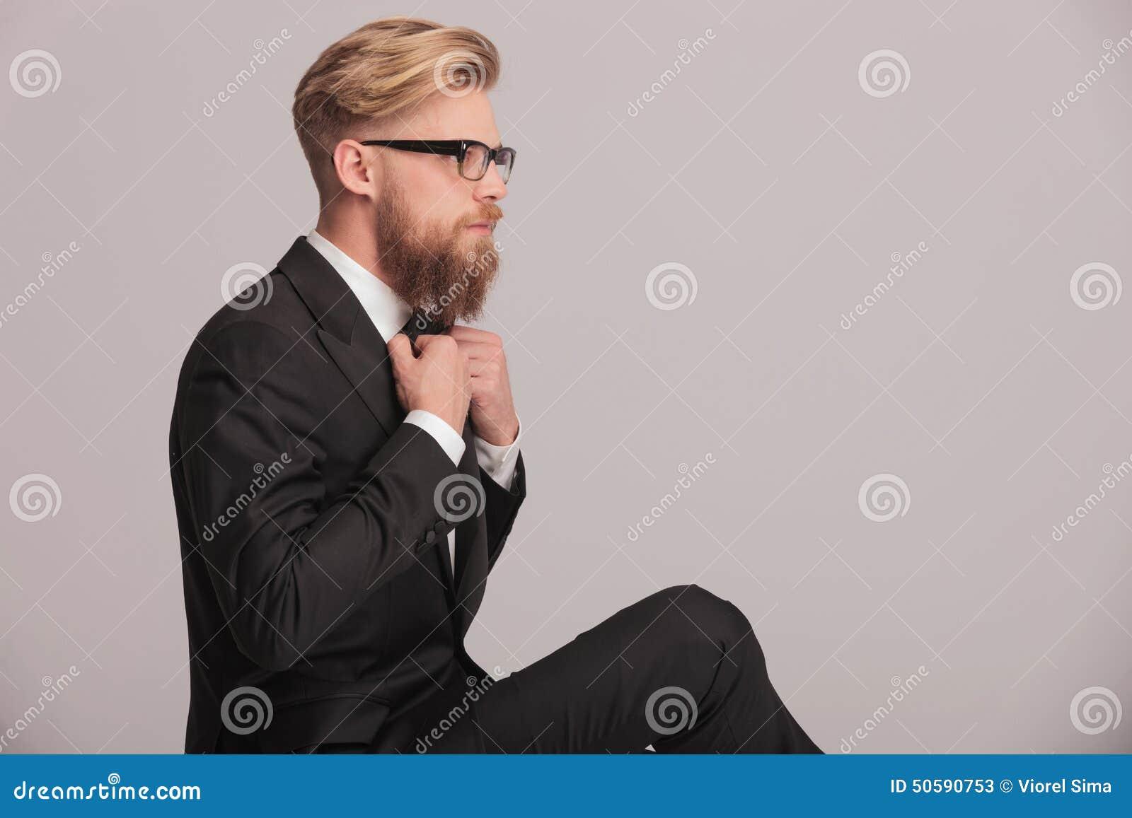 Man Sitting Cross Legged Side View Elegant Business Man F...