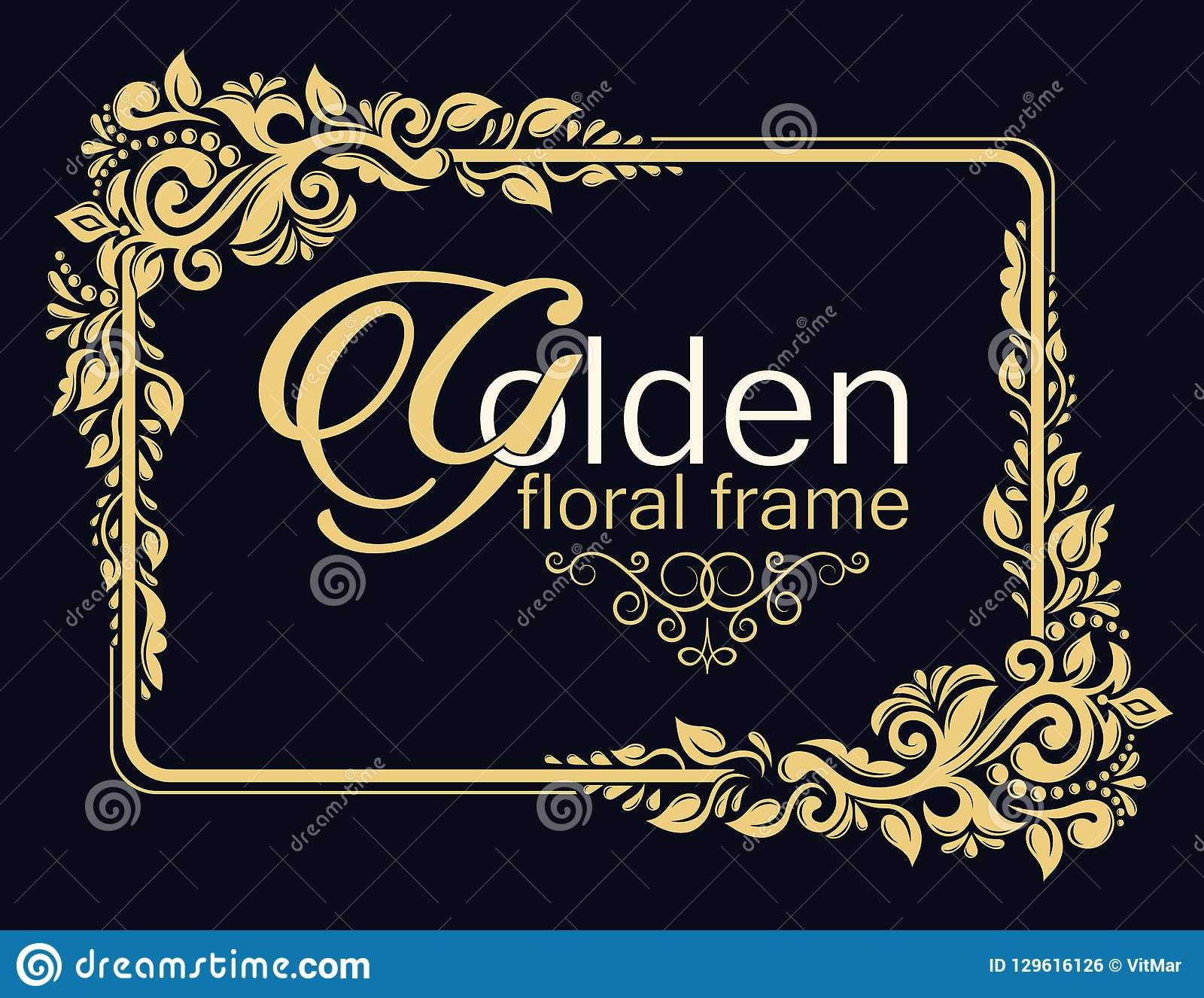 gold decorative floral frame and monogram initials vector heraldic
