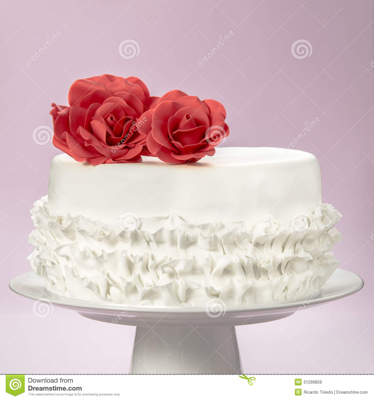 Elegant Cake And Sugar Red Roses The Top Royalty Free