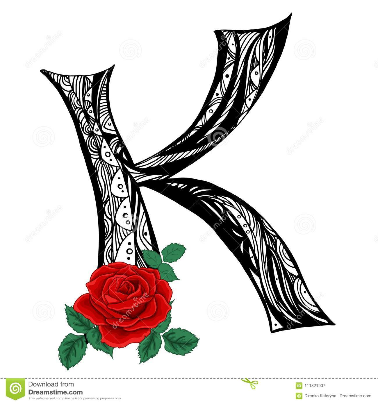 Elegant Capital Letter K In The Style Of The Doodle Black And White