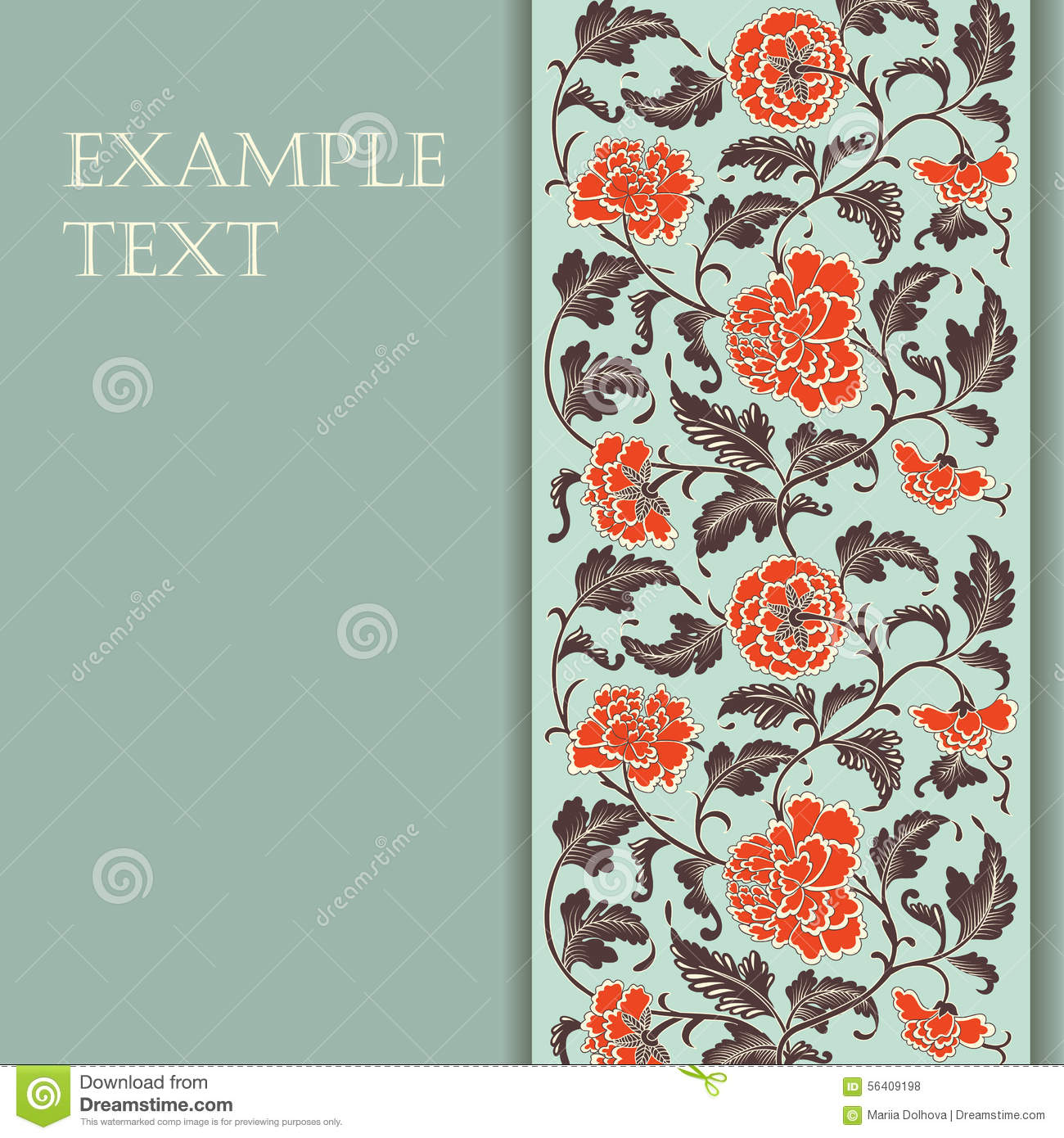 Elegant card with decorative asian flowers
