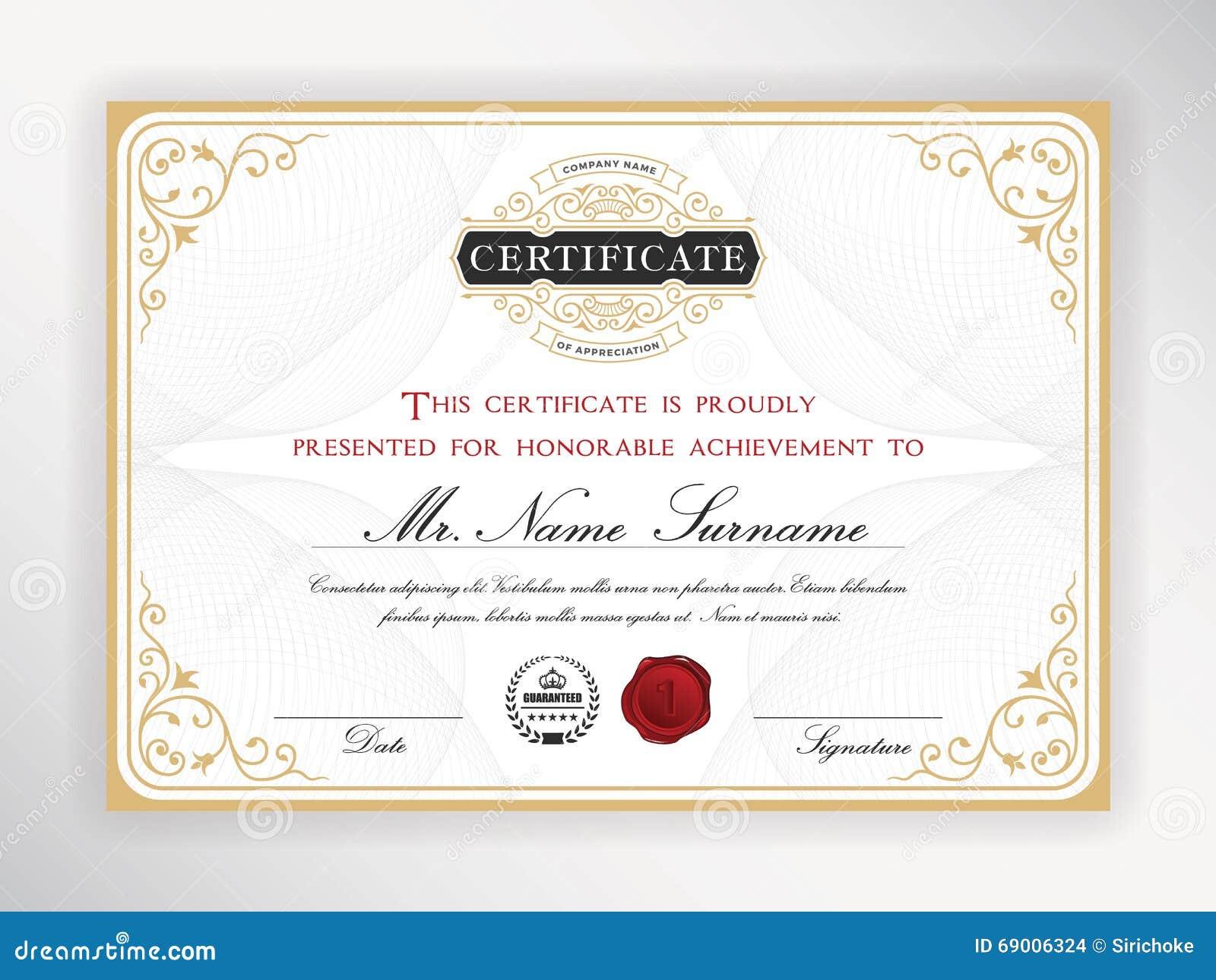 Elegant Certificate Template Stock Vector Illustration Of Elements