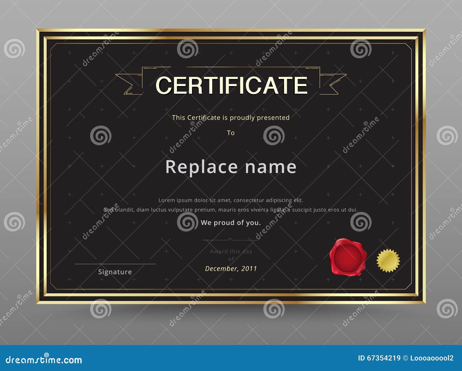 elegant certificate template design gold and black color vector