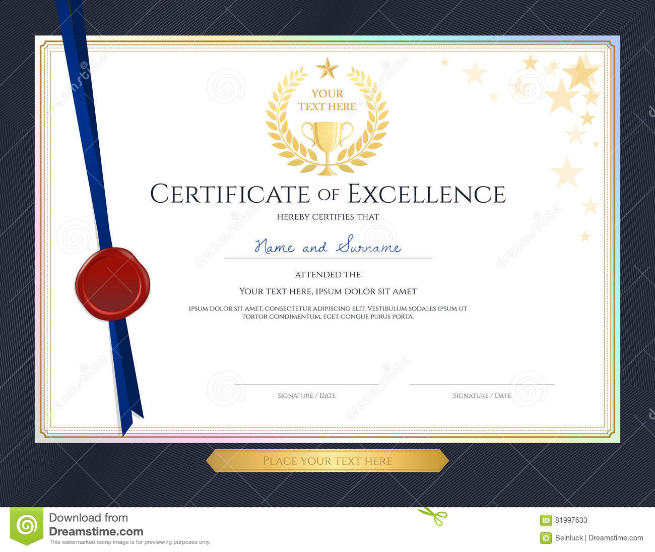 Certificate Of Achievement Template With Elegant Gold ...