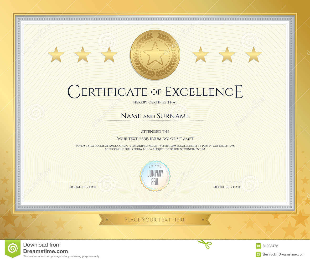 Certificate Of Excellence Template With Gold Seal Stock Vector