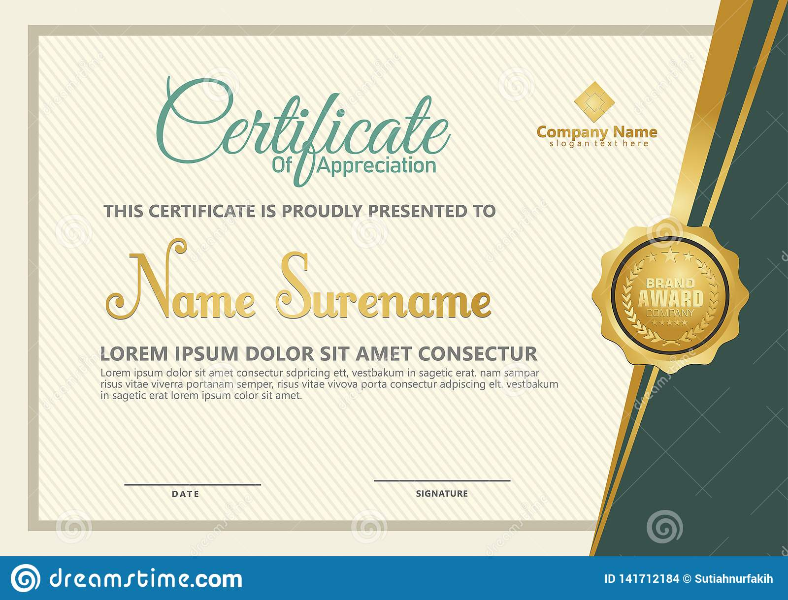 Elegant certificate template vector with luxury and modern pattern background