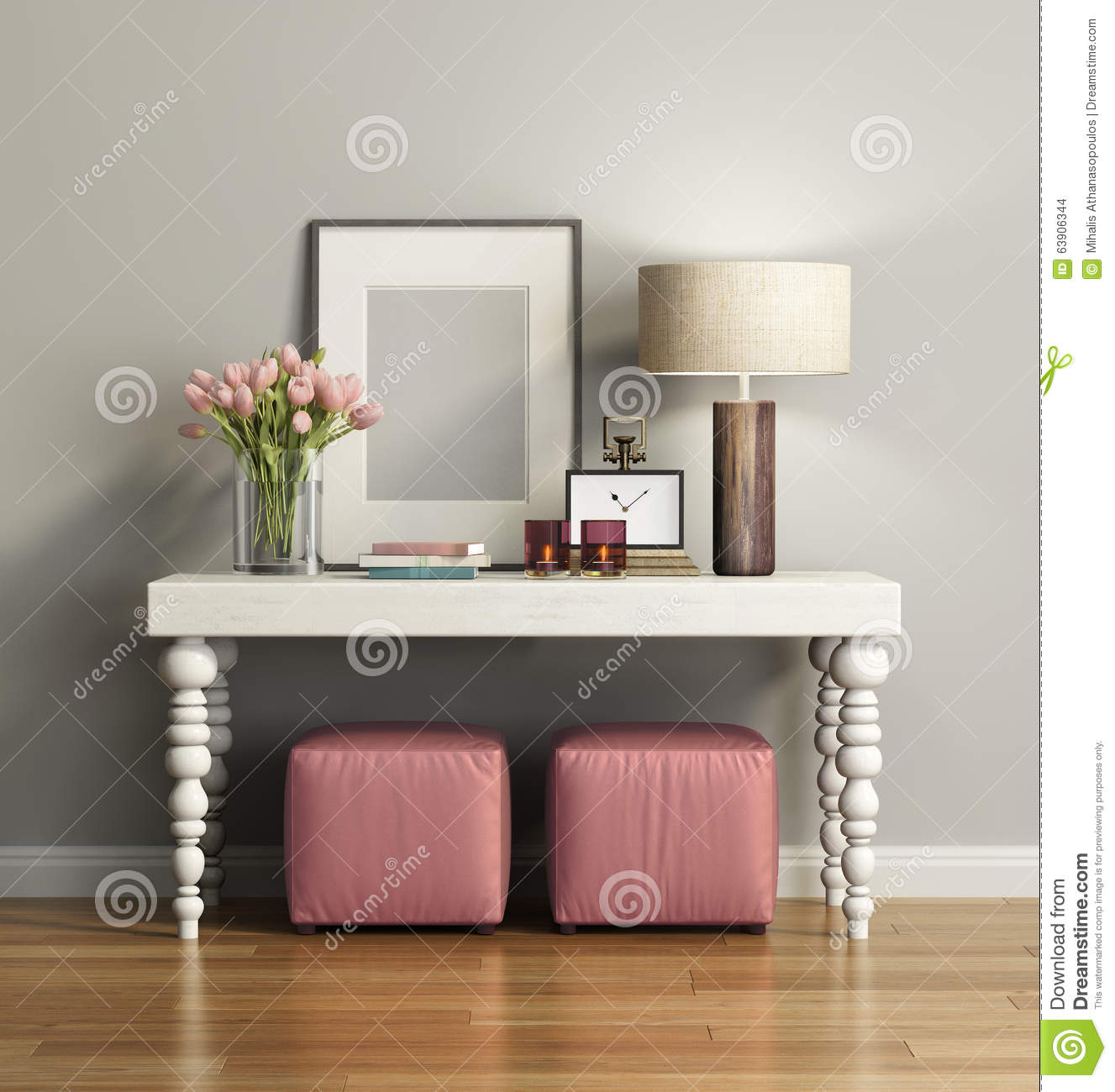 Elegant Chic Brown Console Table With Stools Stock ... Simplicity Wallpaper