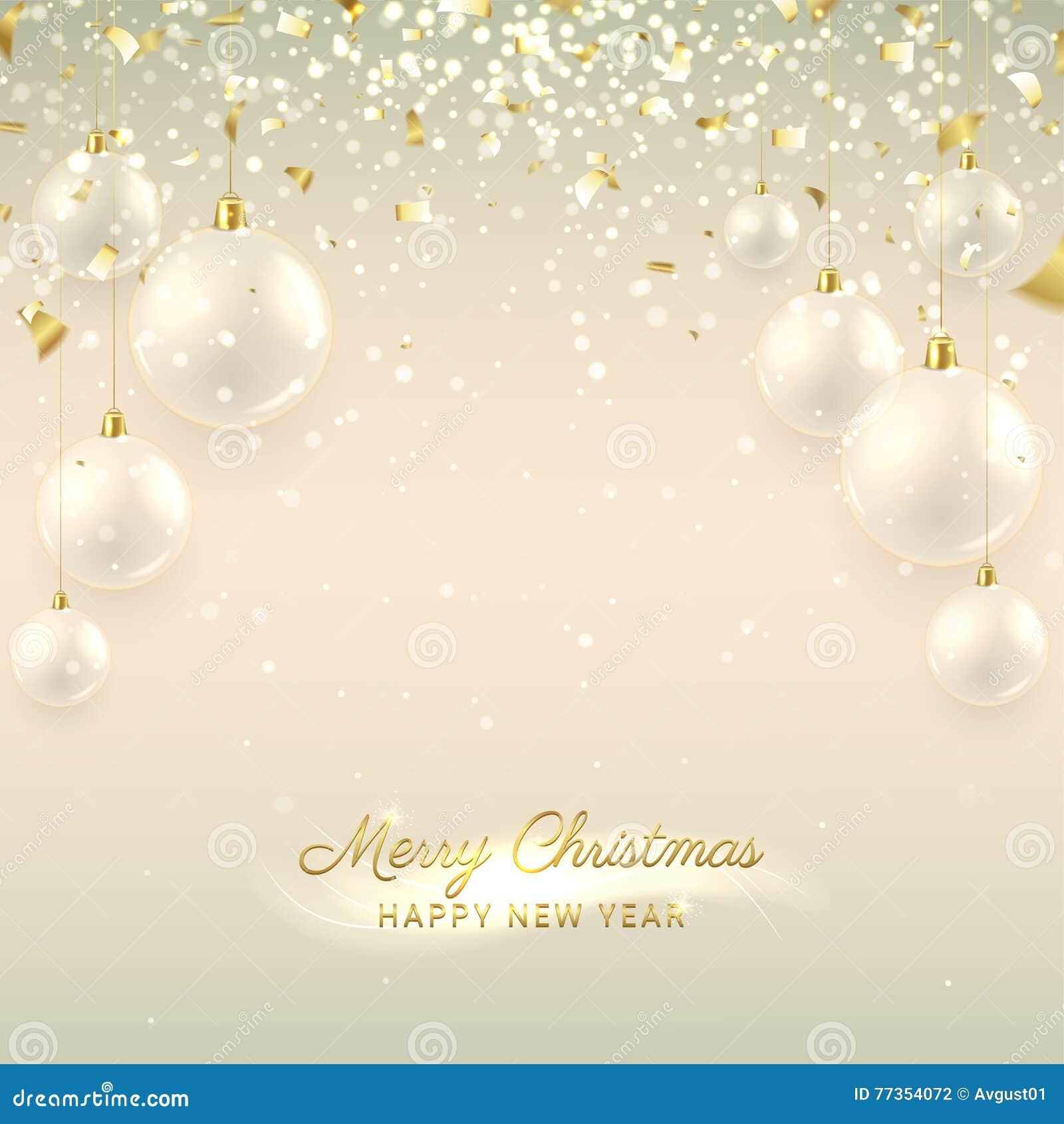 Elegant Christmas Banner With Glass Balls Stock Vector