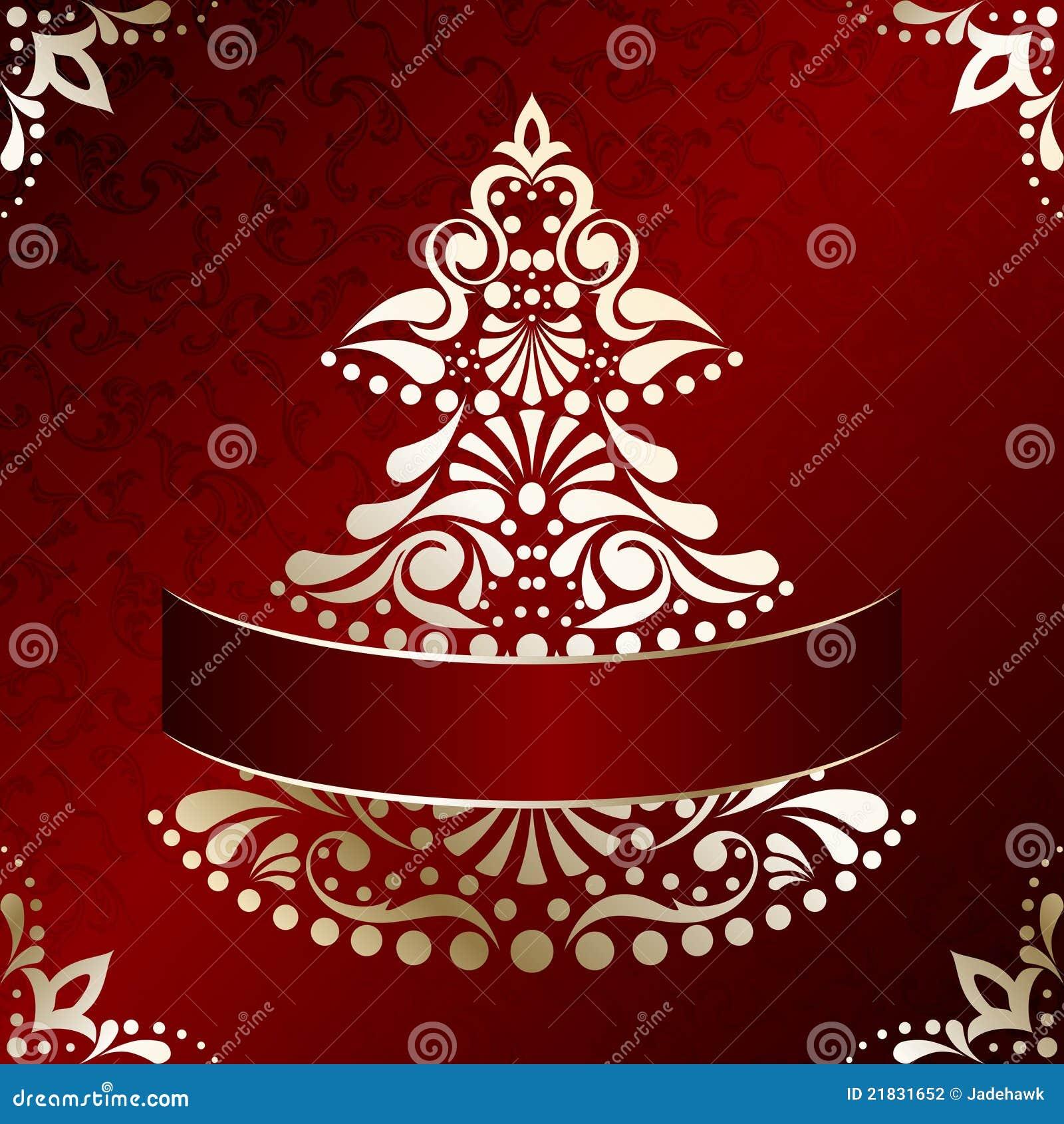 Elegant Christmas Card With Christmas Tree Stock Vector ...