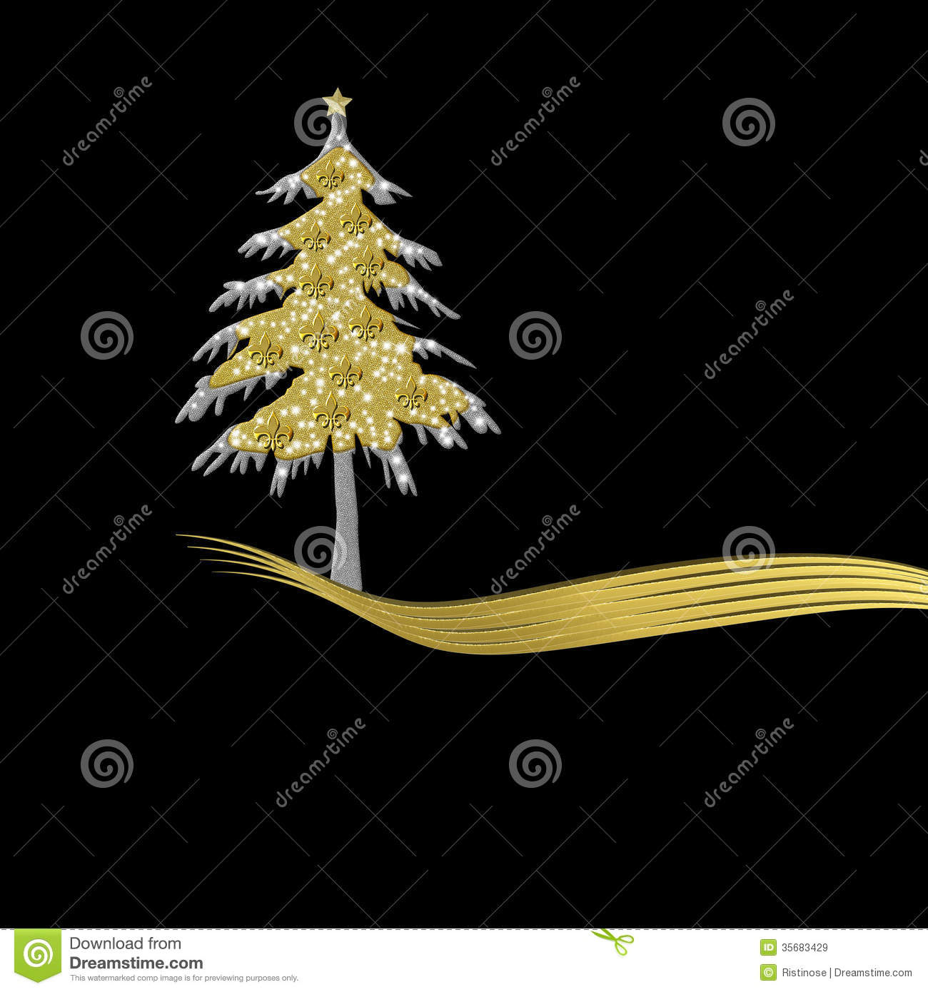 elegant christmas card in gold and black tree ornament with fle stock illustration - Elegant Christmas Cards